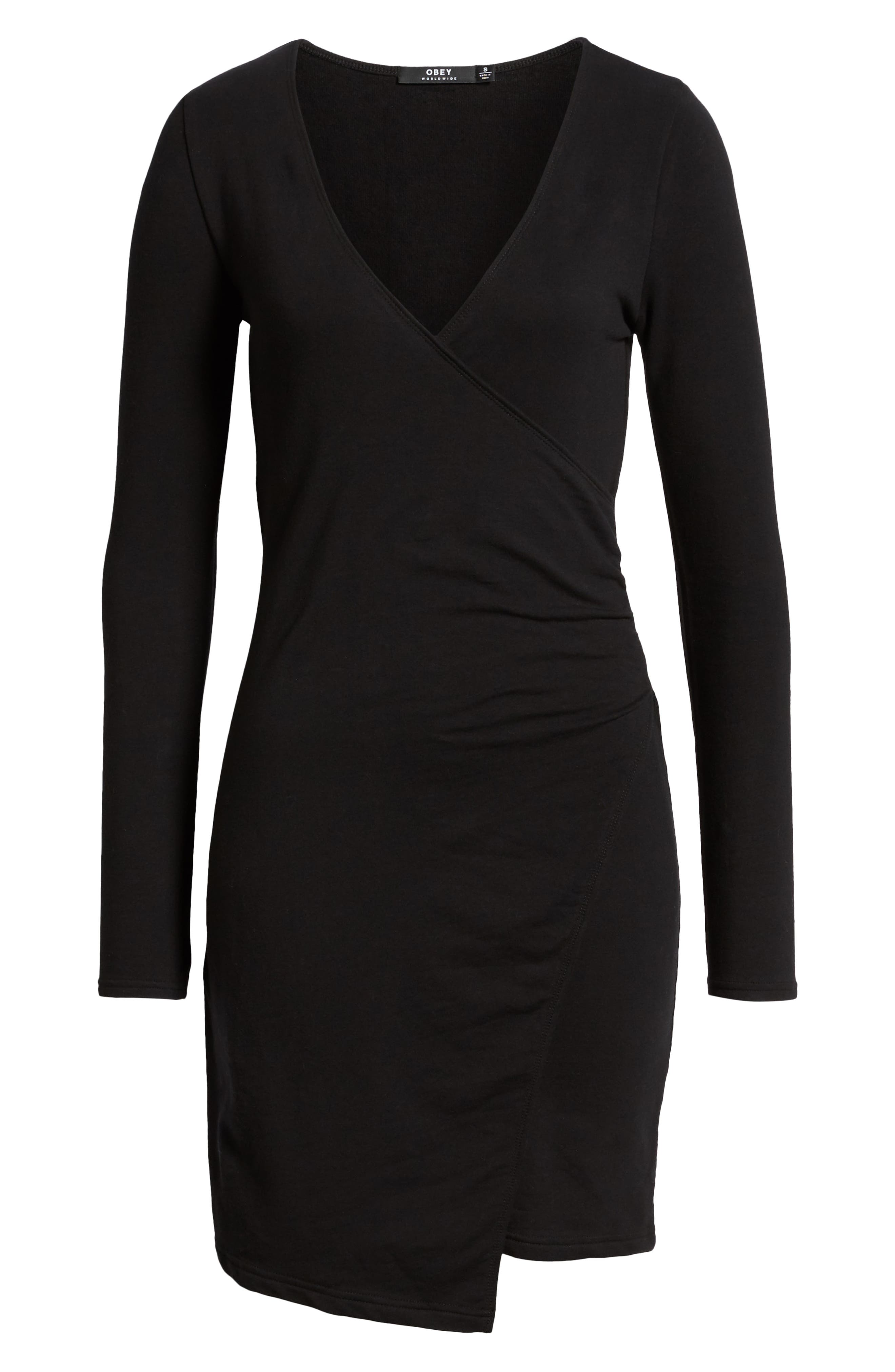 OBEY,                             Kinzie Faux Wrap Dress,                             Alternate thumbnail 7, color,                             001