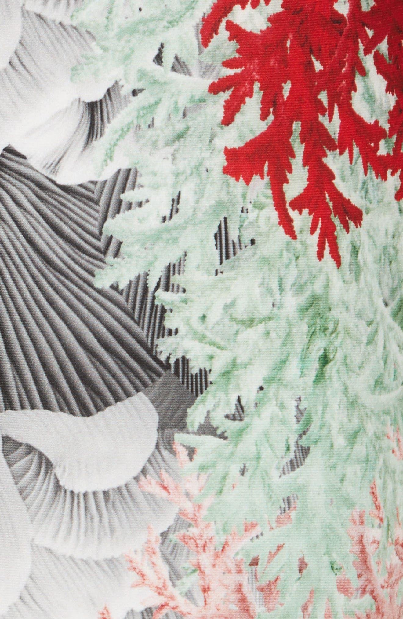 Coral Print Scuba Pencil Skirt,                             Alternate thumbnail 5, color,                             650