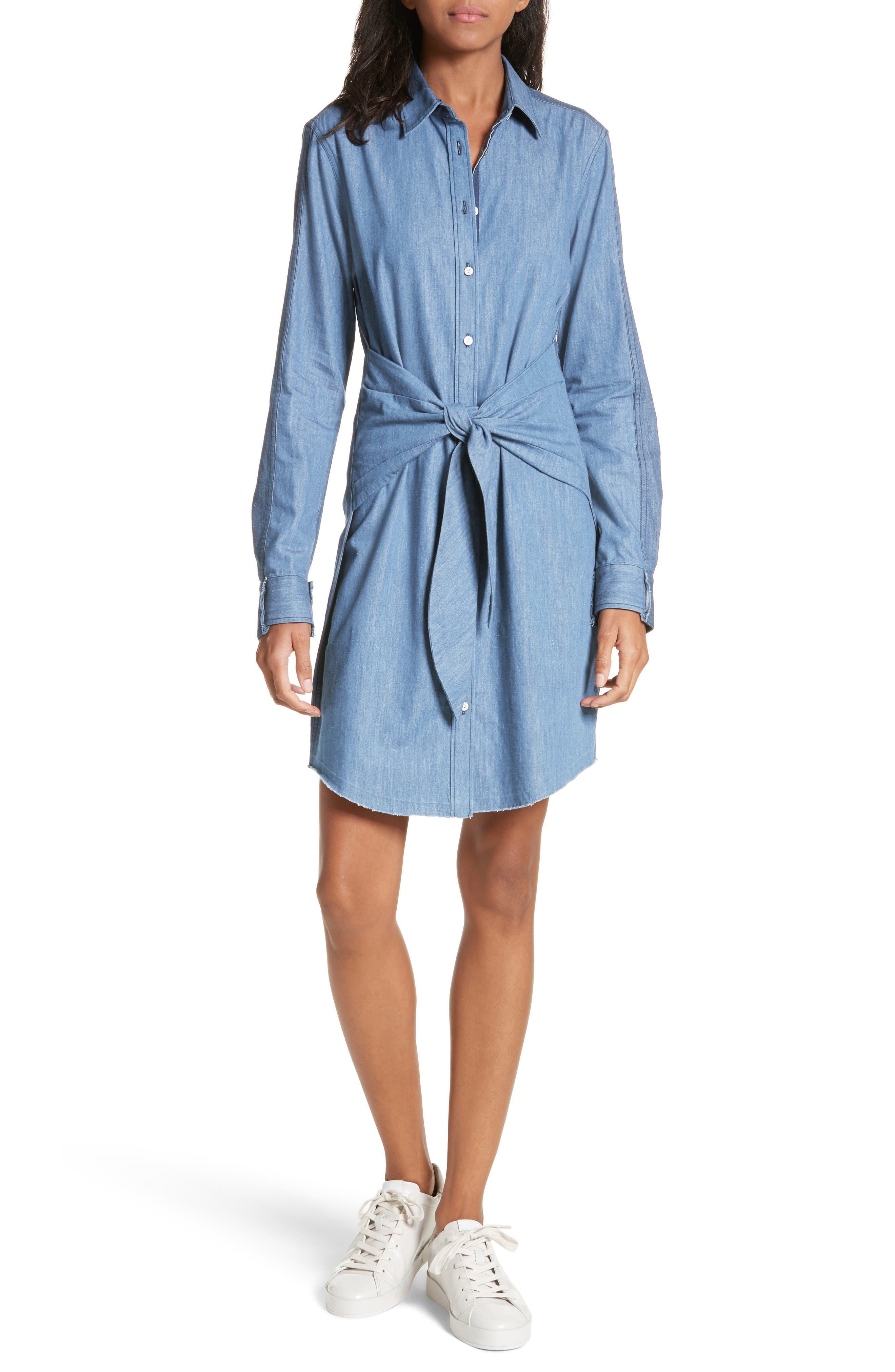 Sadie Destroyed Denim Shirtdress,                         Main,                         color, 470