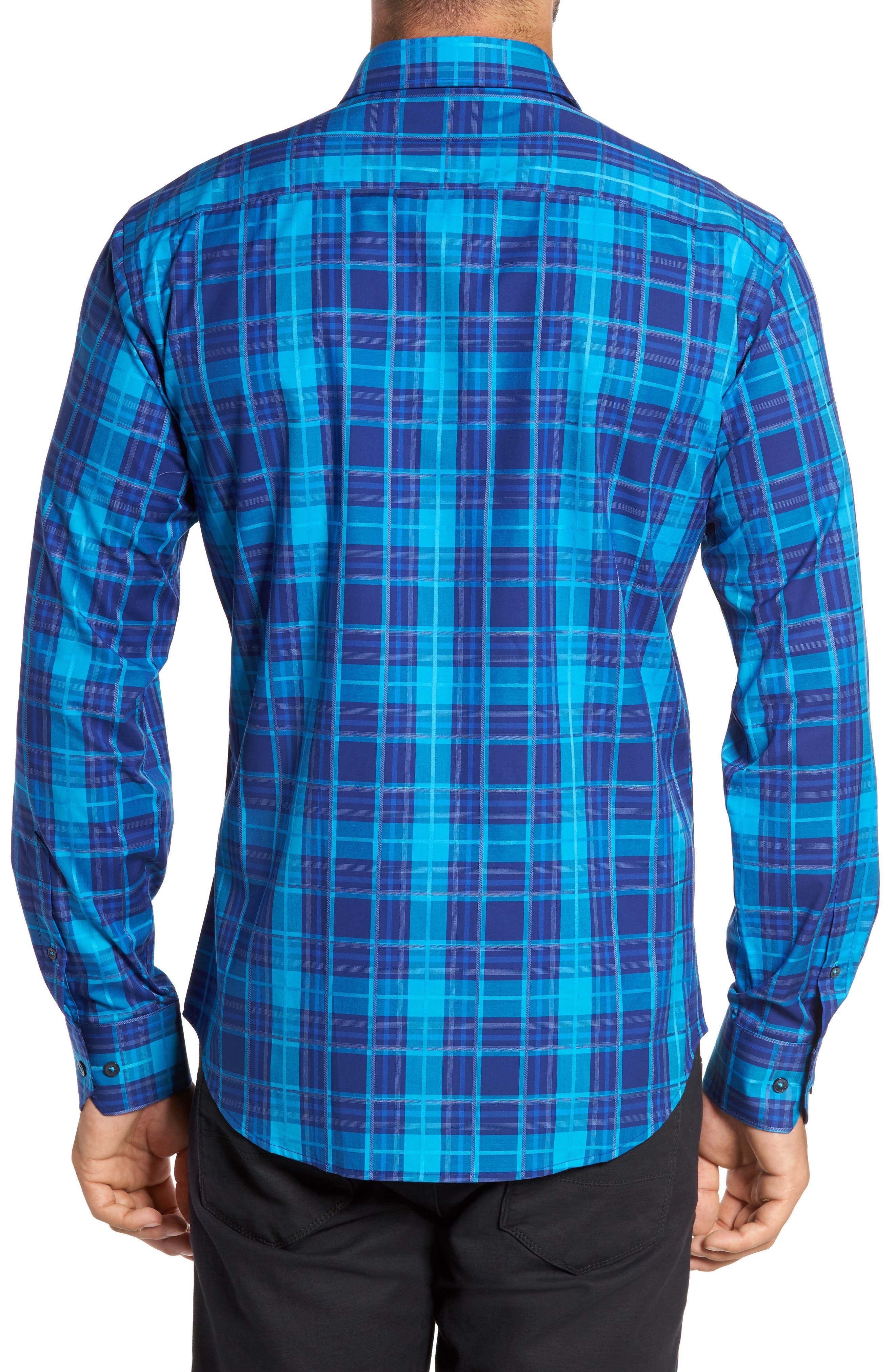Trim Fit Plaid Sport Shirt,                             Alternate thumbnail 2, color,                             425