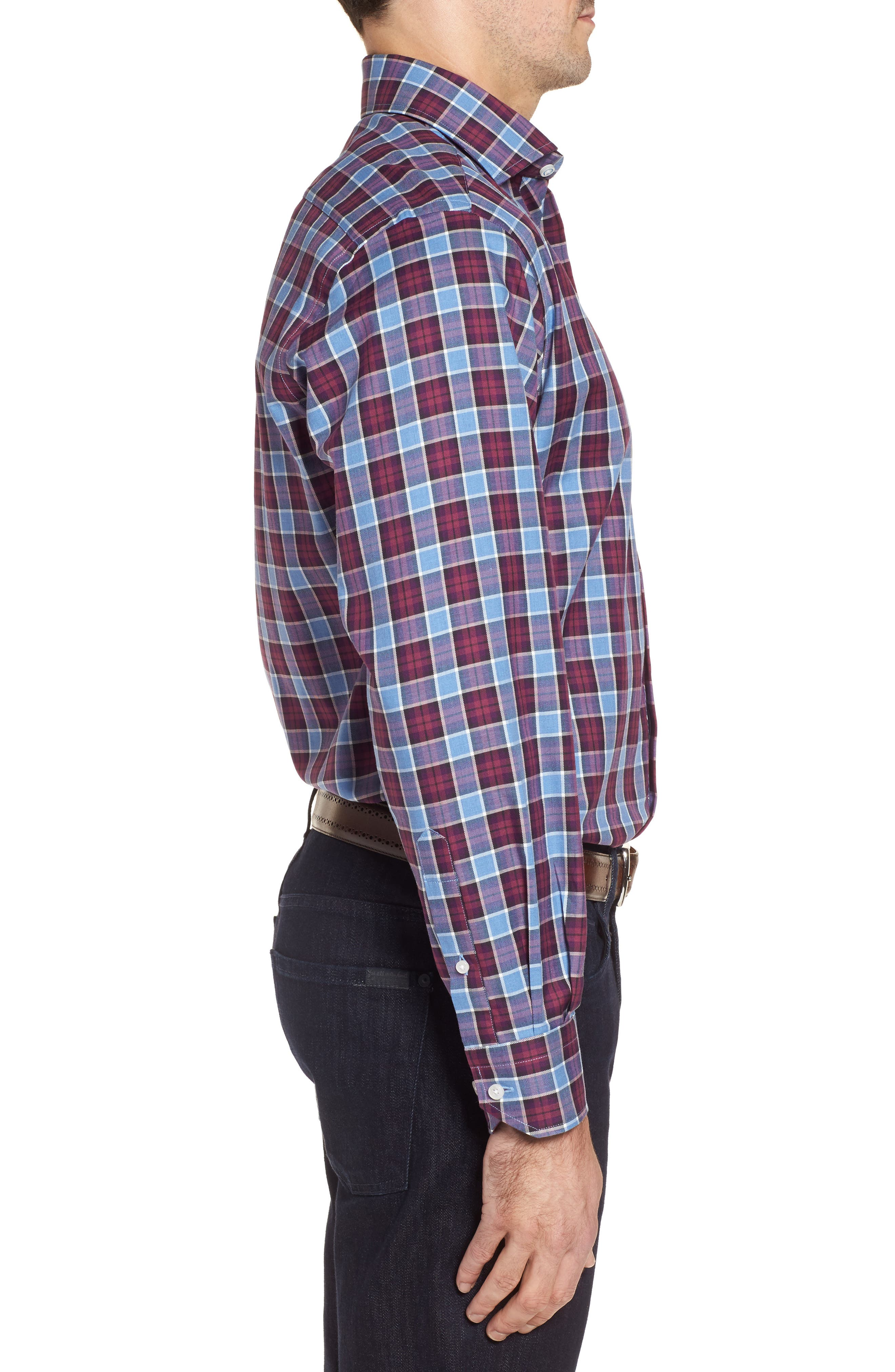 Chareton Check Twill Sport Shirt,                             Alternate thumbnail 3, color,                             400