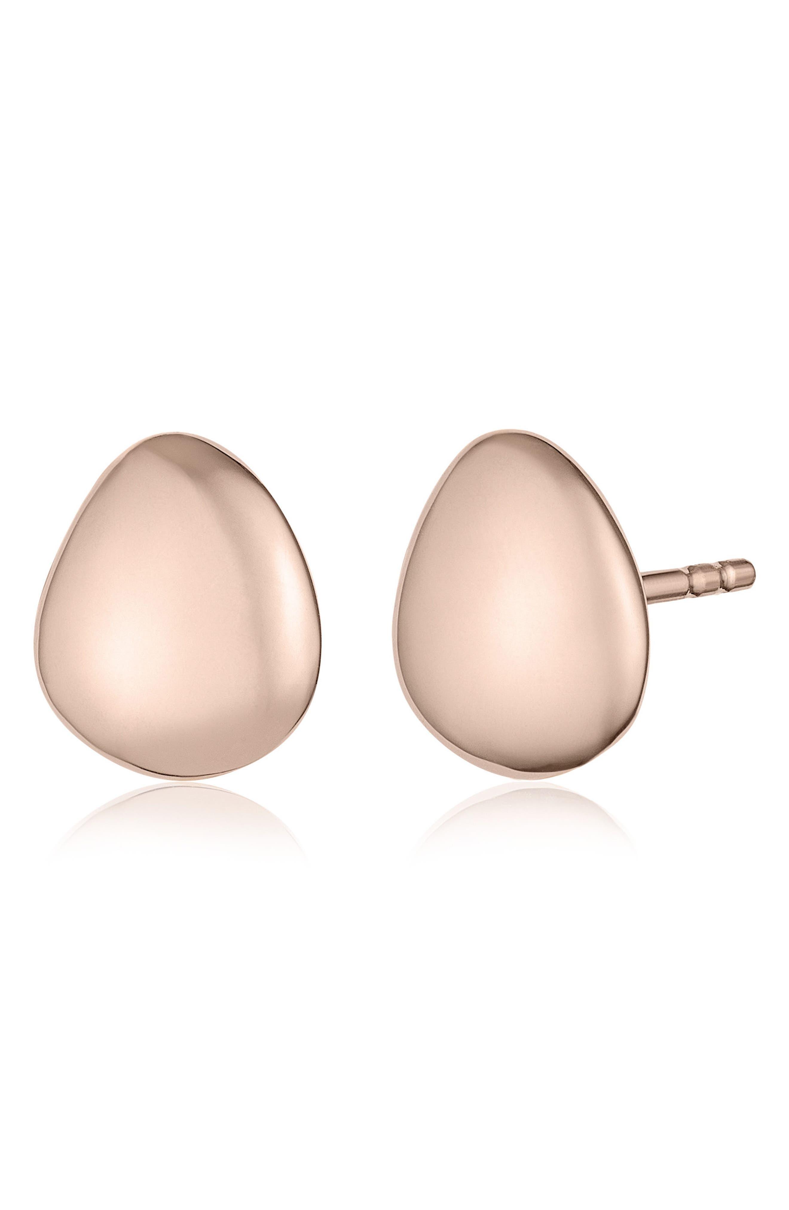 Nura Small Pebble Stud Earrings,                             Main thumbnail 1, color,                             ROSE GOLD