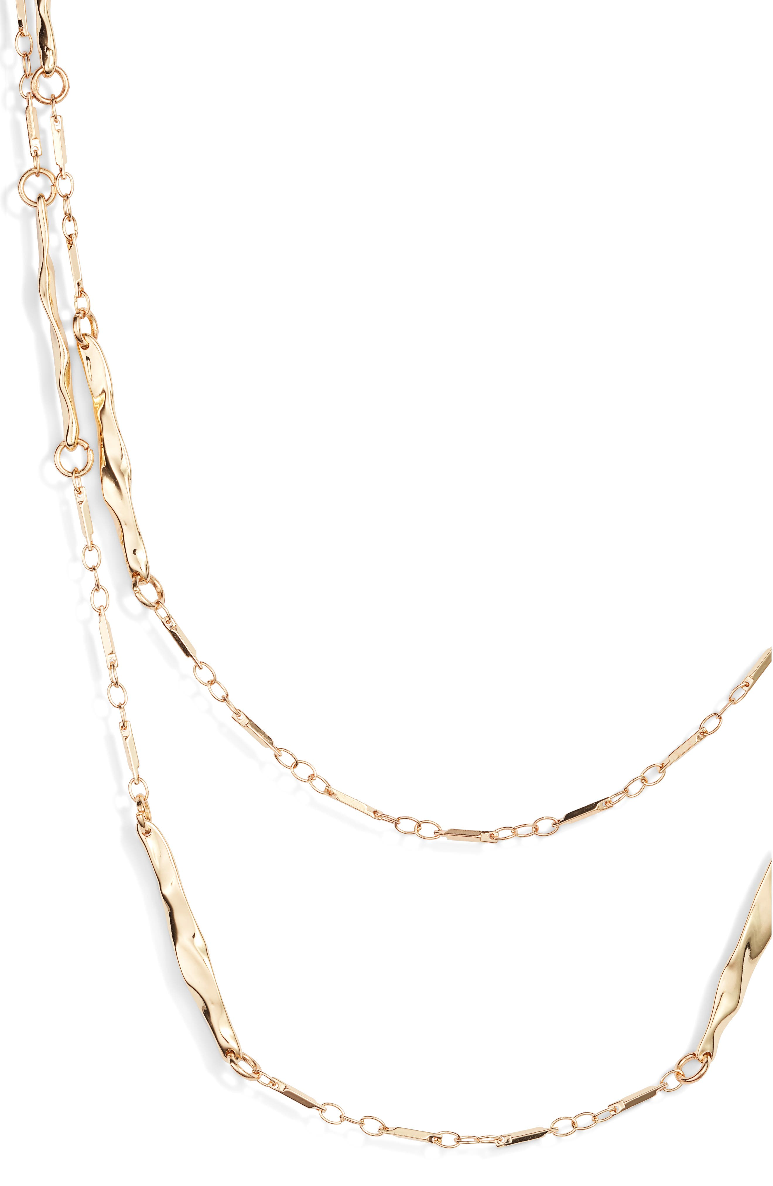 Double Strand Station Necklace,                             Alternate thumbnail 2, color,                             GOLD