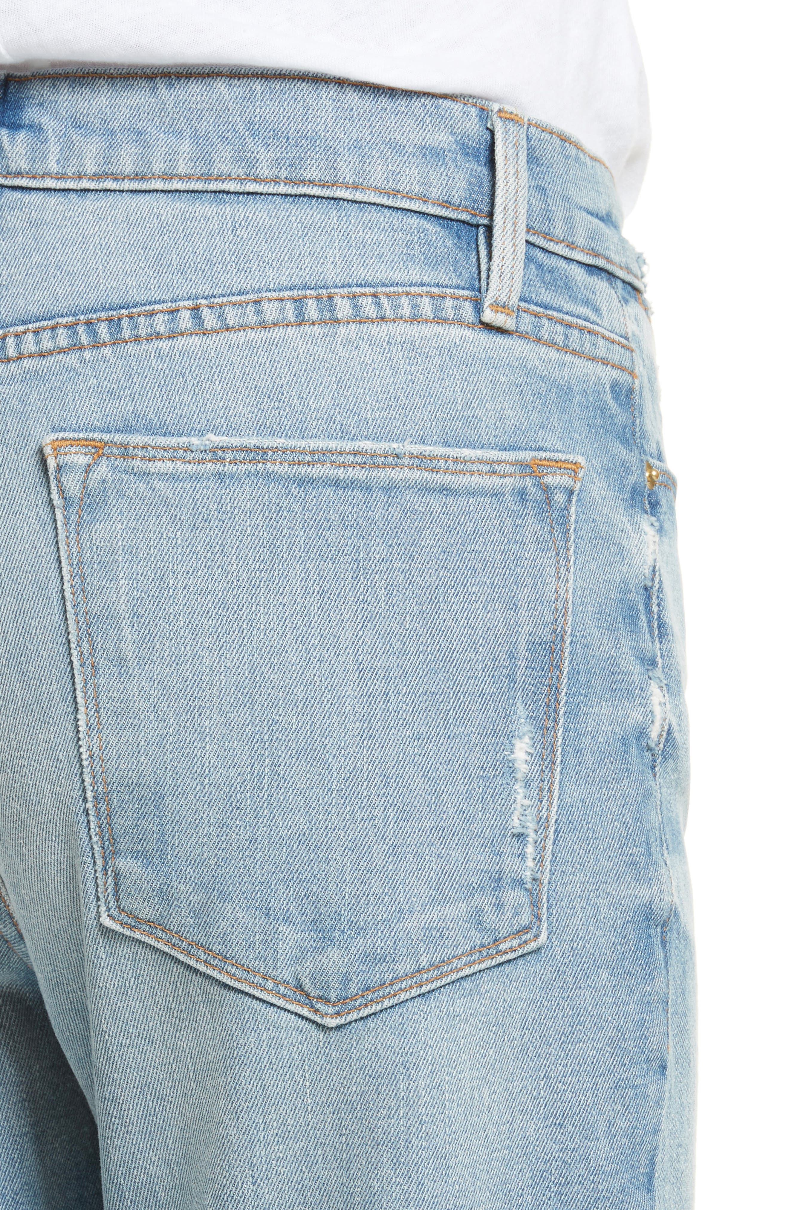 Le High Crop Straight Jeans,                             Alternate thumbnail 4, color,                             450