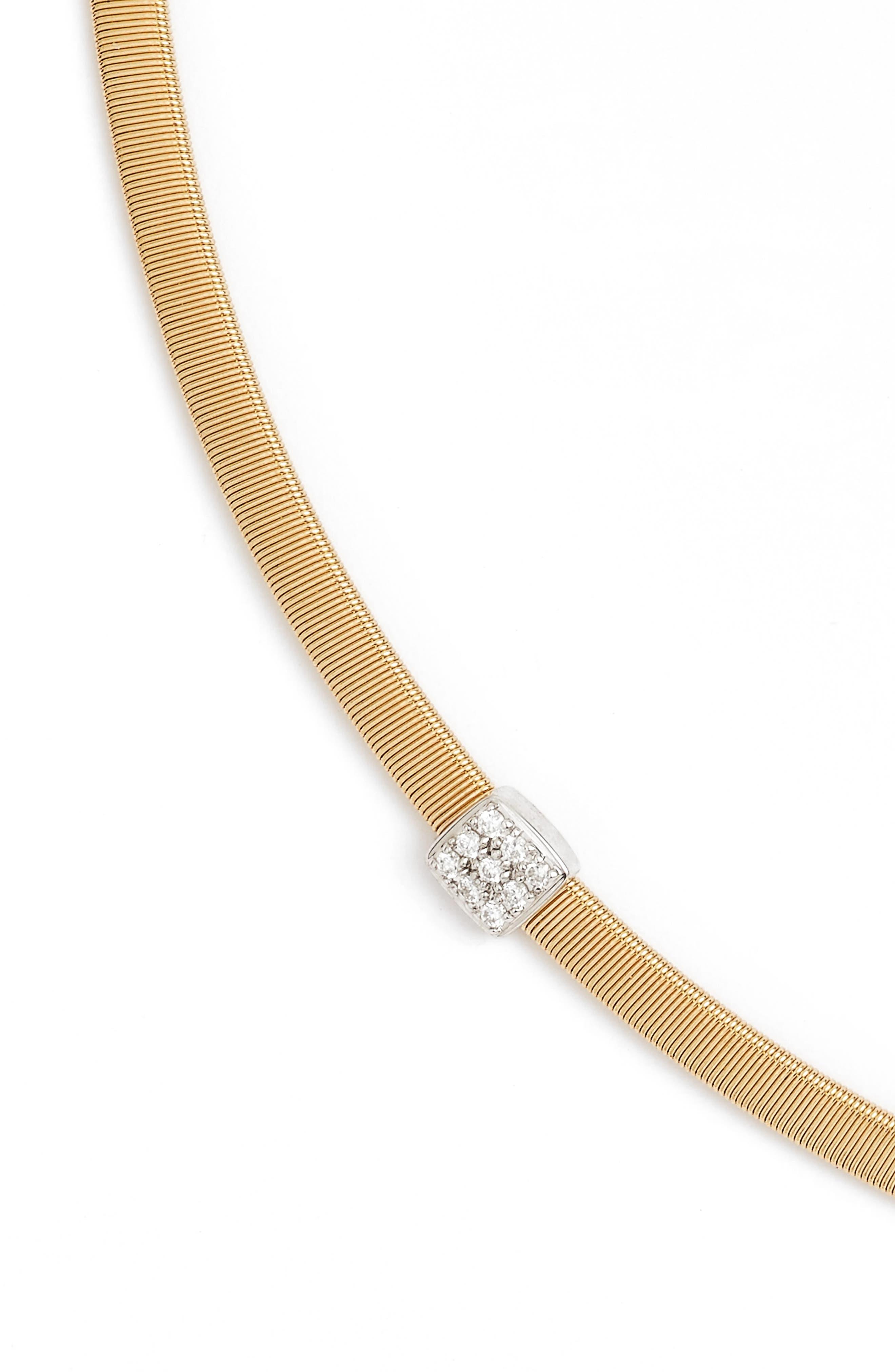 Masai Diamond Collar Necklace,                             Alternate thumbnail 3, color,                             YELLOW GOLD