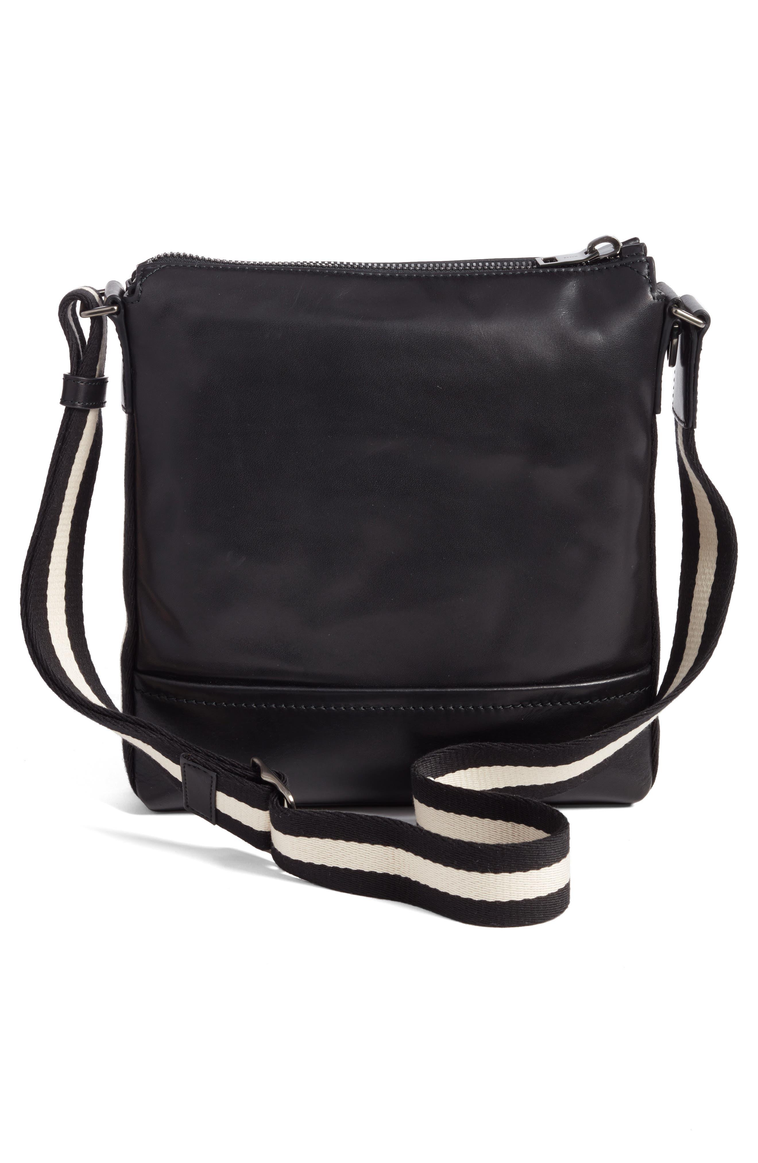 BALLY,                             Trezzini Leather Crossbody Bag,                             Alternate thumbnail 3, color,                             001