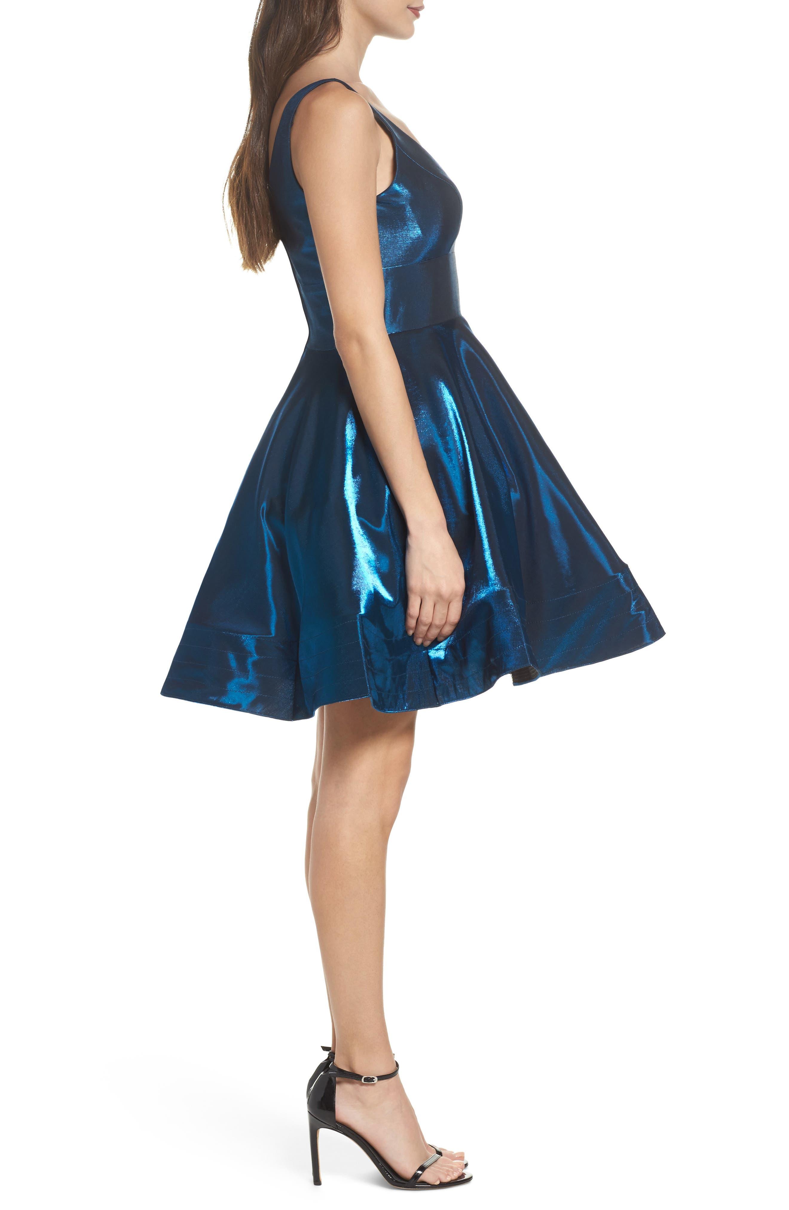 Shimmer Fit & Flare Dress,                             Alternate thumbnail 3, color,                             400