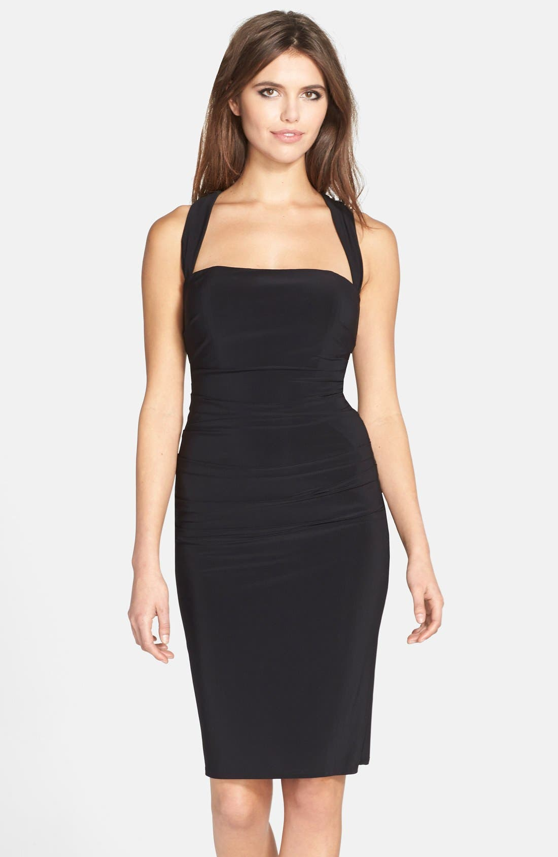 Twist Back Jersey Body-Con Dress,                             Main thumbnail 1, color,                             001