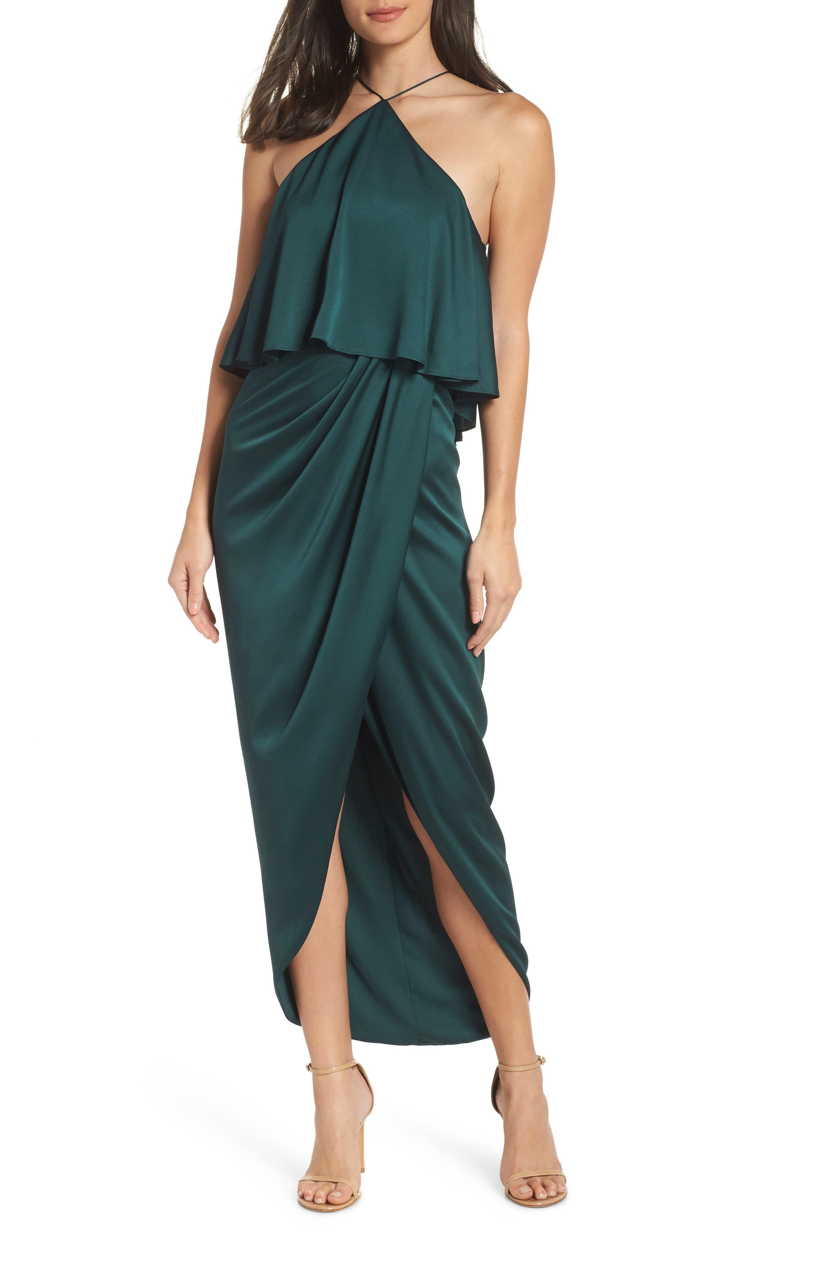 SHONA JOY Ruffle Halter Tulip Gown in Emerald
