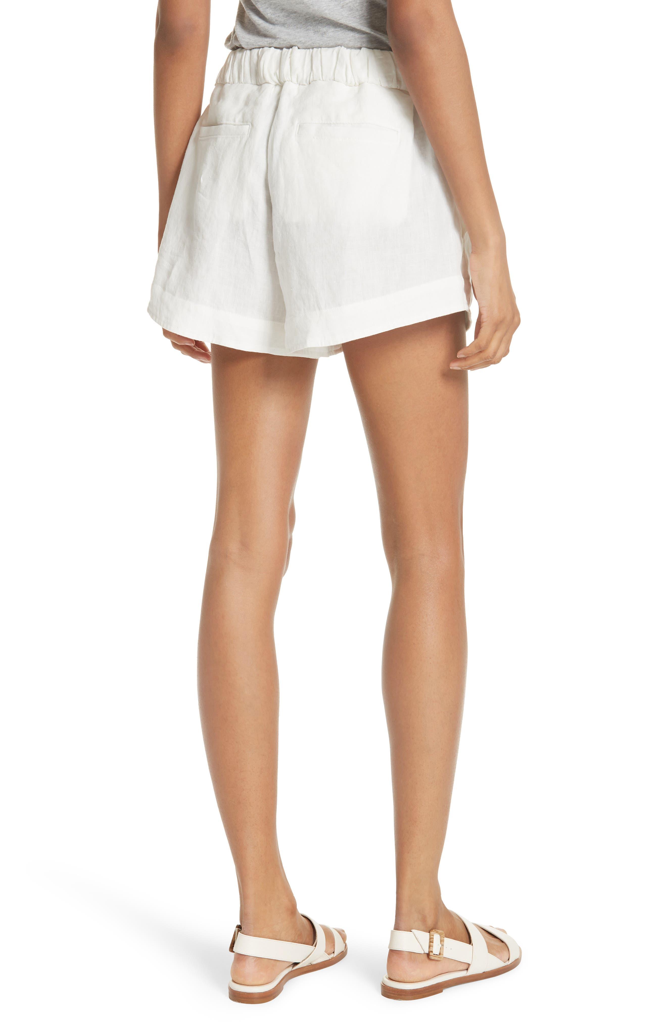 Nyssa Linen Shorts,                             Alternate thumbnail 3, color,                             IVORY