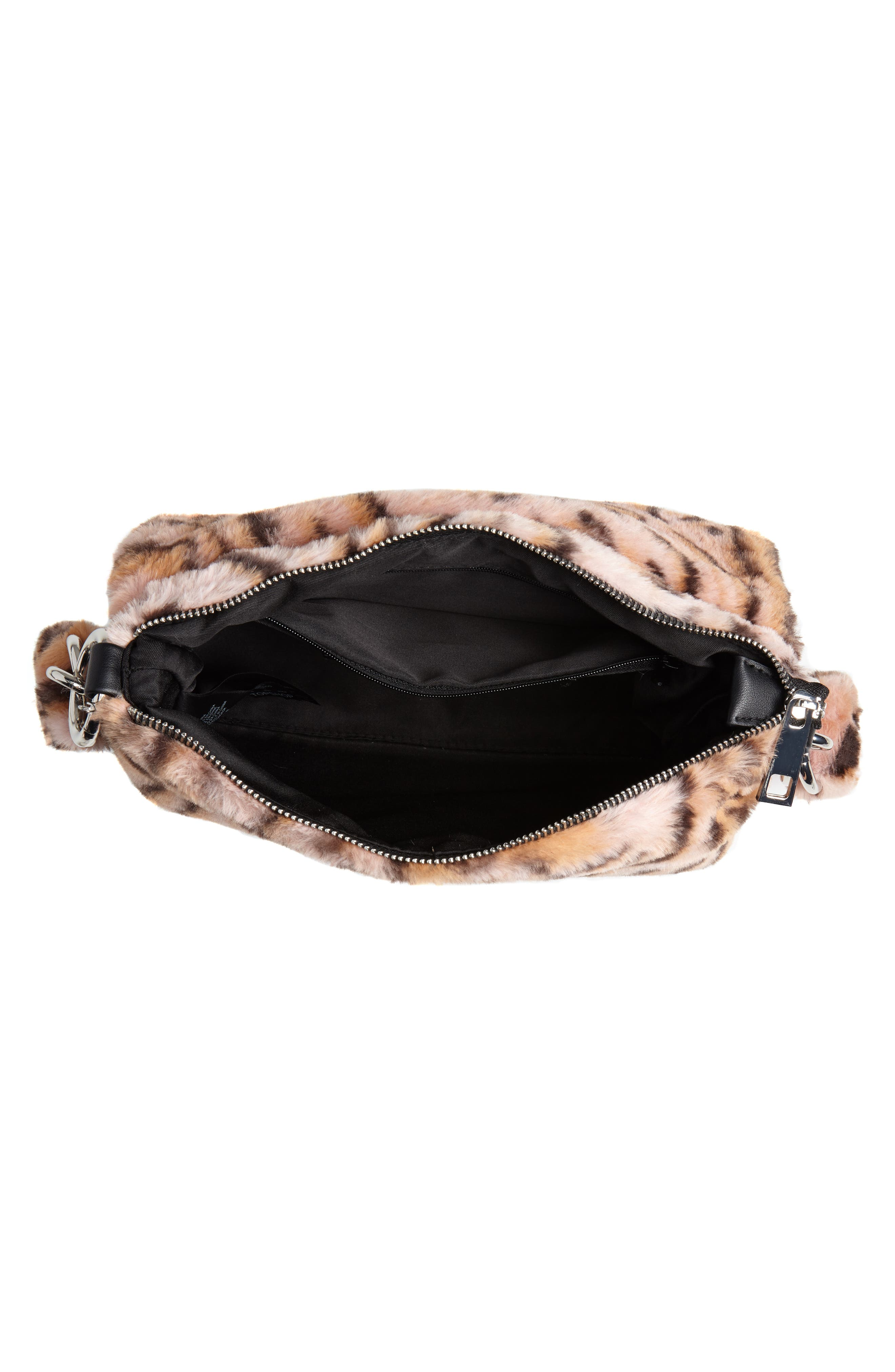Teddy Leopard Print Faux Fur Shoulder Bag,                             Alternate thumbnail 4, color,                             650