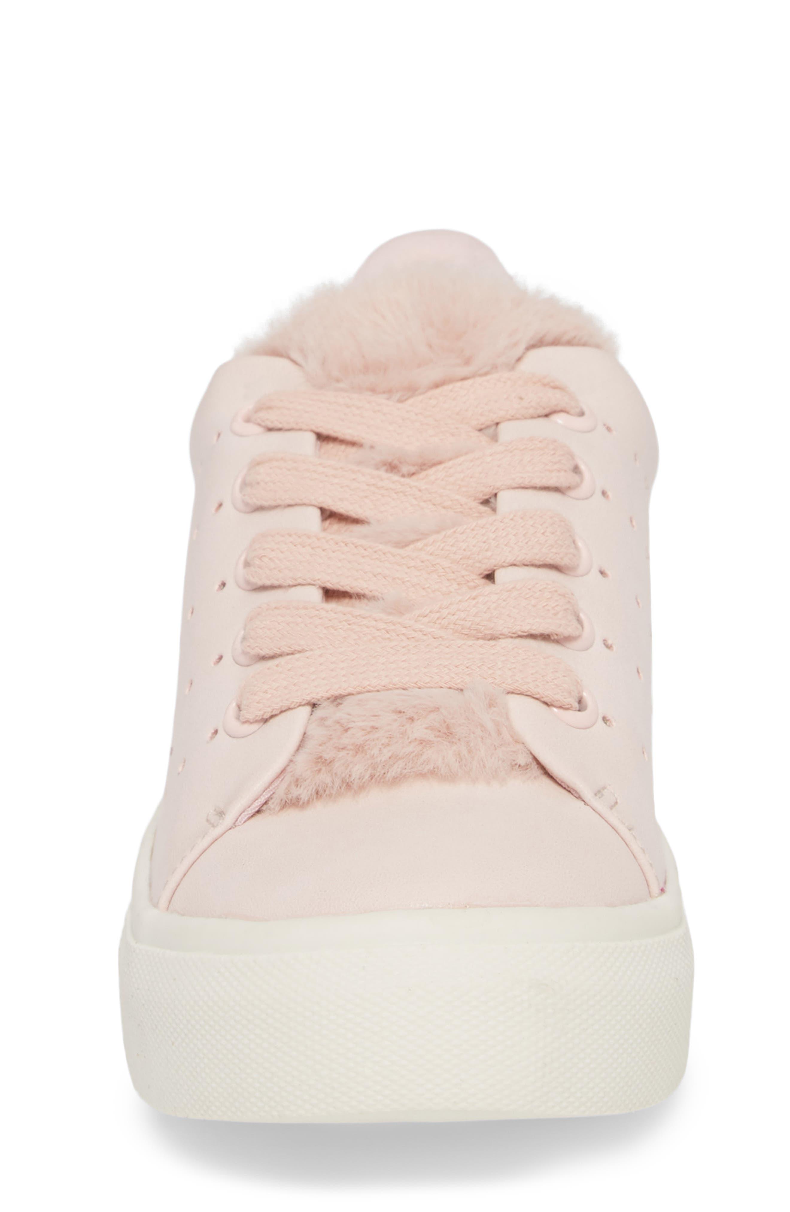 Cabel Glitter Faux Fur Sneaker,                             Alternate thumbnail 4, color,                             PINK