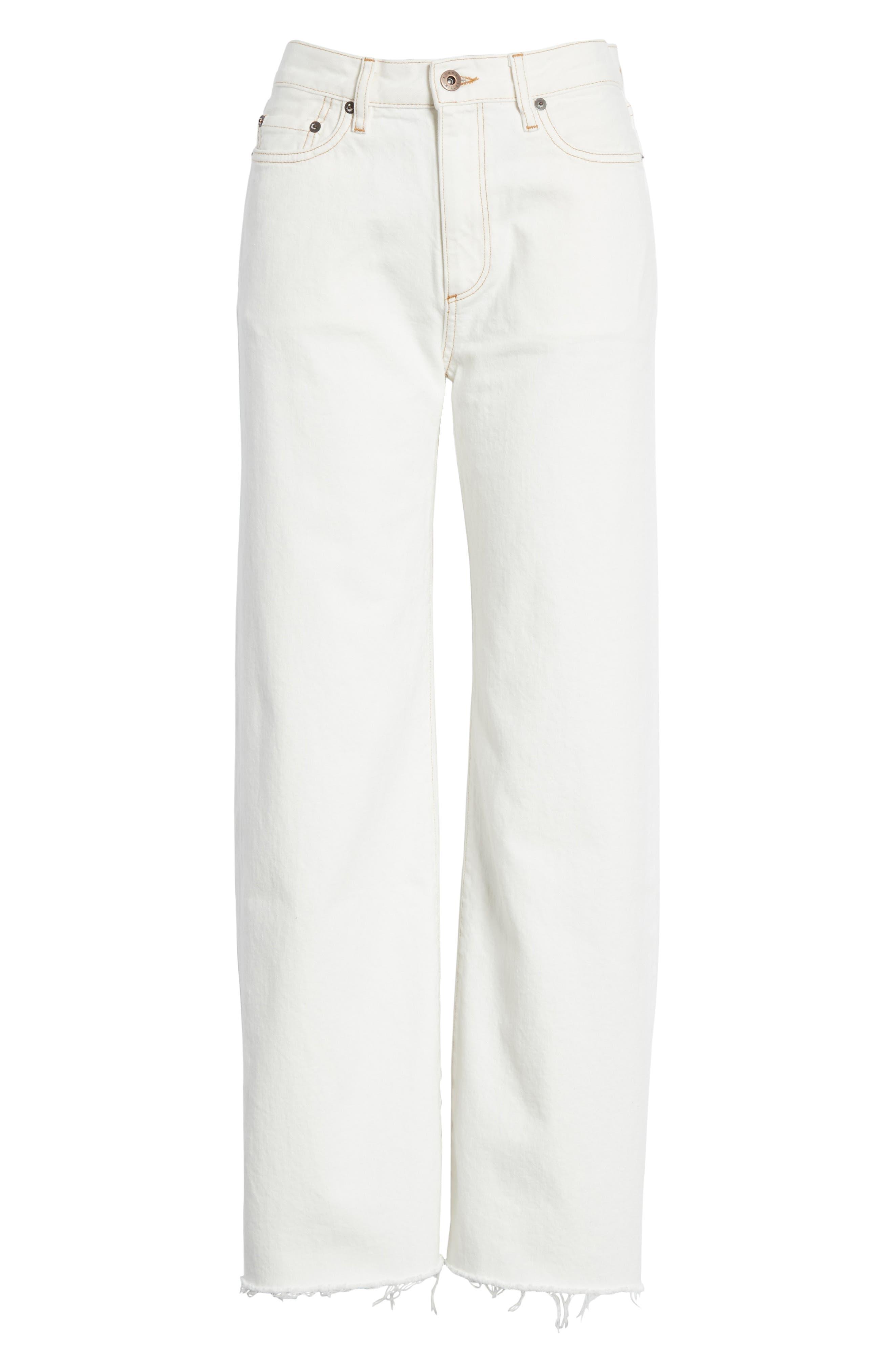 Enid High Waist Wide Leg Jeans,                             Alternate thumbnail 6, color,                             100