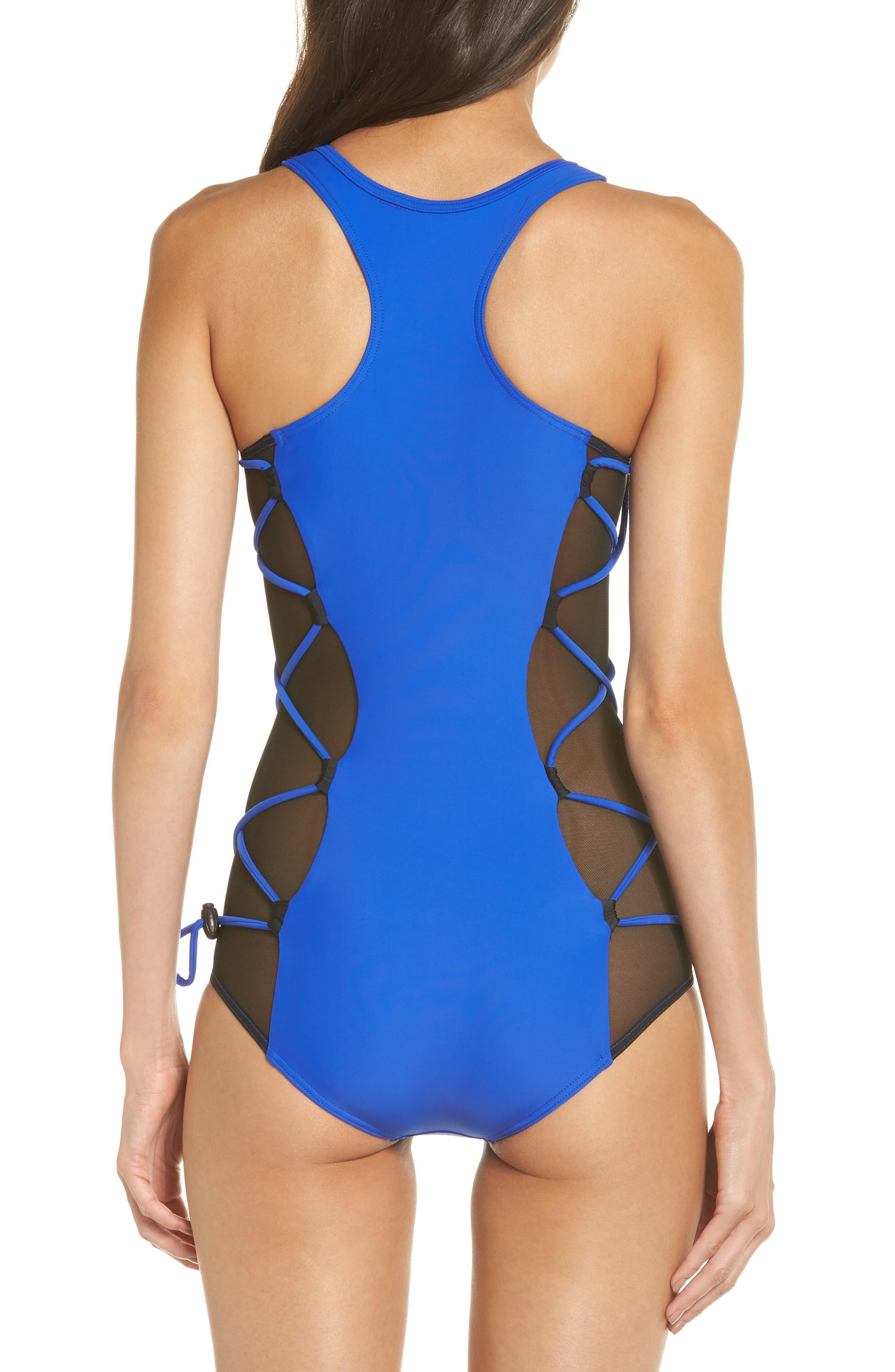Launch One-Piece Swimsuit,                             Alternate thumbnail 2, color,                             BLUE/ BLACK