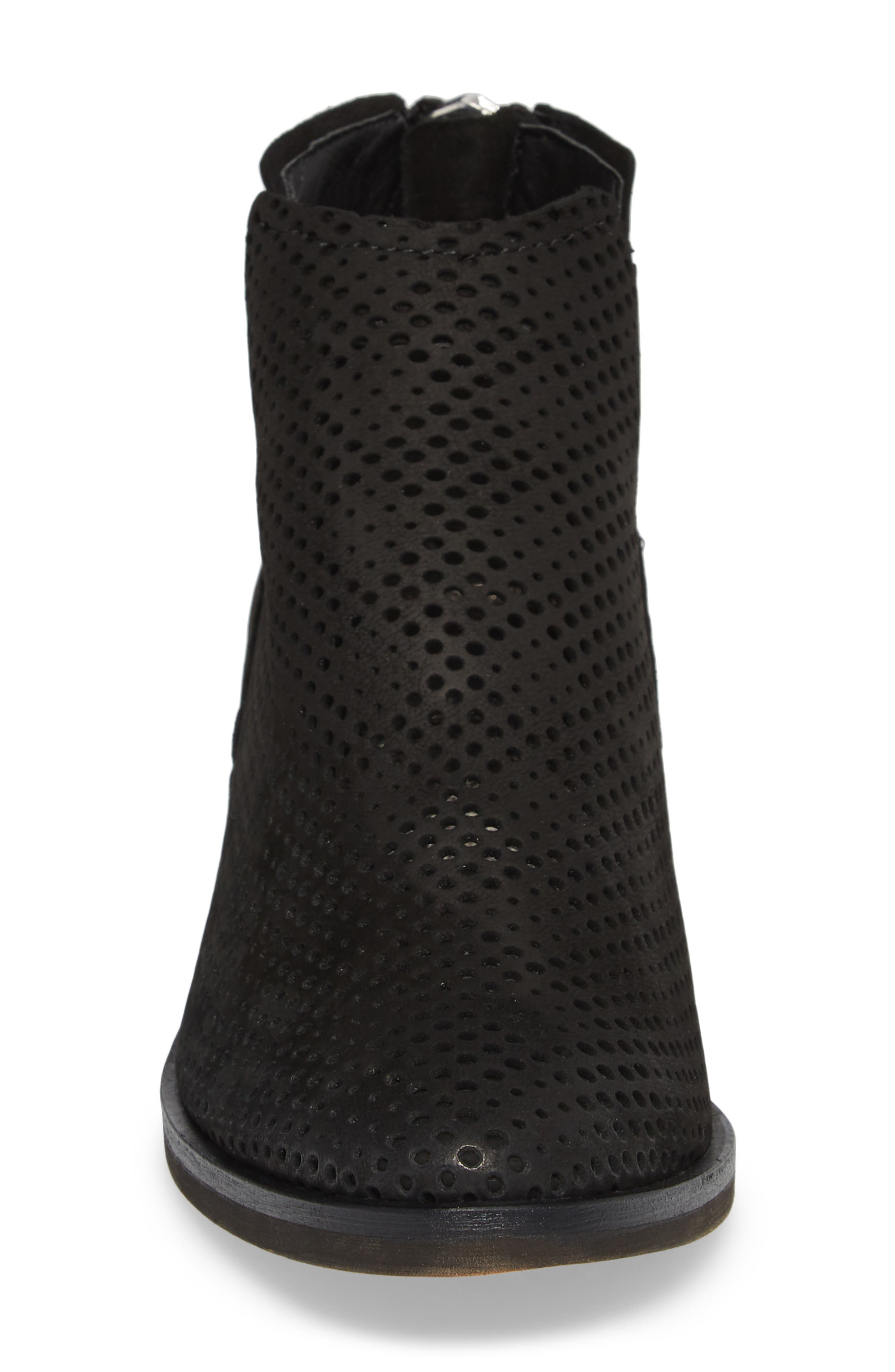 Tommi Perforated Bootie,                             Alternate thumbnail 4, color,                             BLACK NUBUCK
