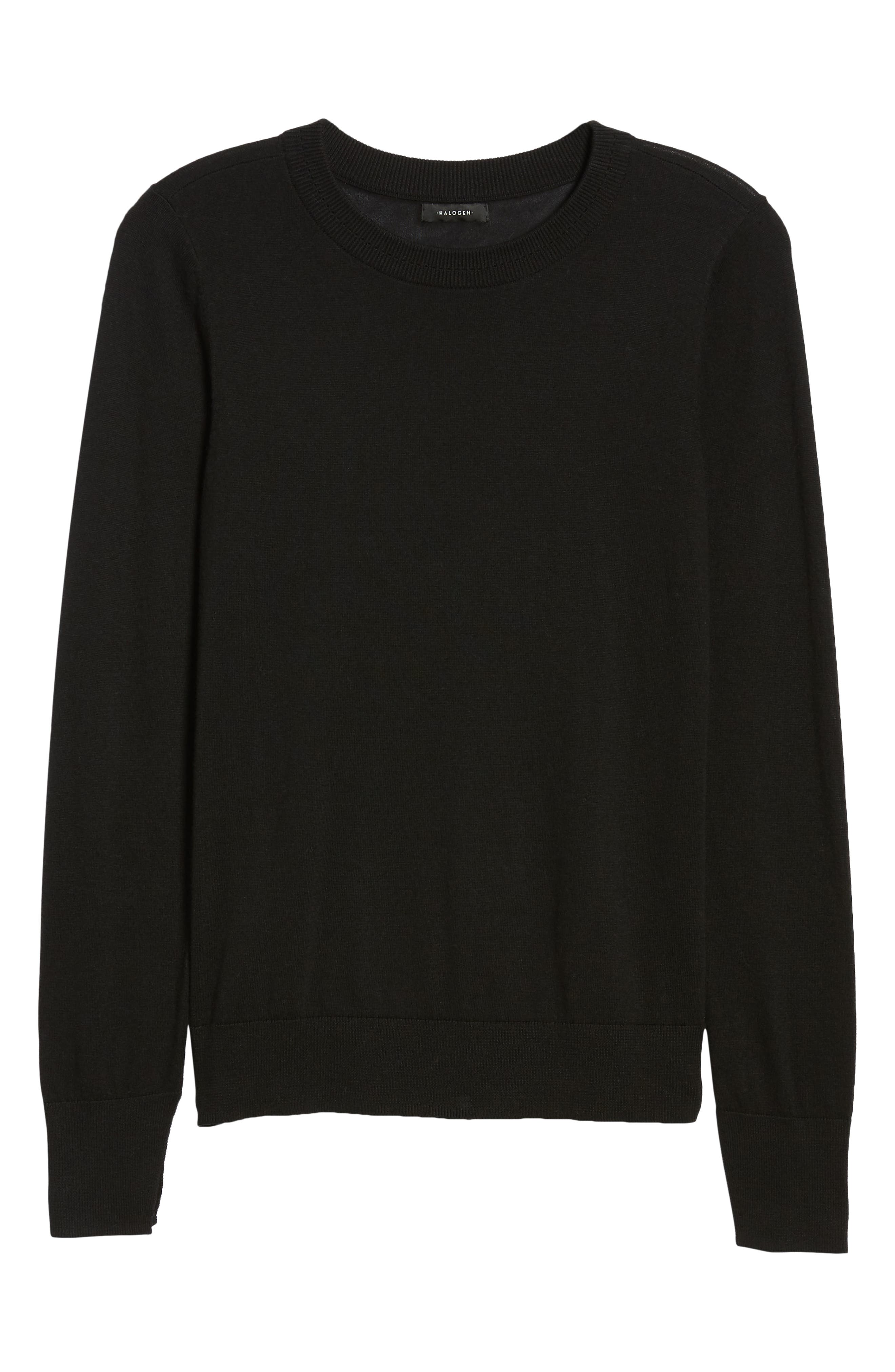 HALOGEN<SUP>®</SUP>,                             Slit Sleeve Sweater,                             Alternate thumbnail 6, color,                             BLACK