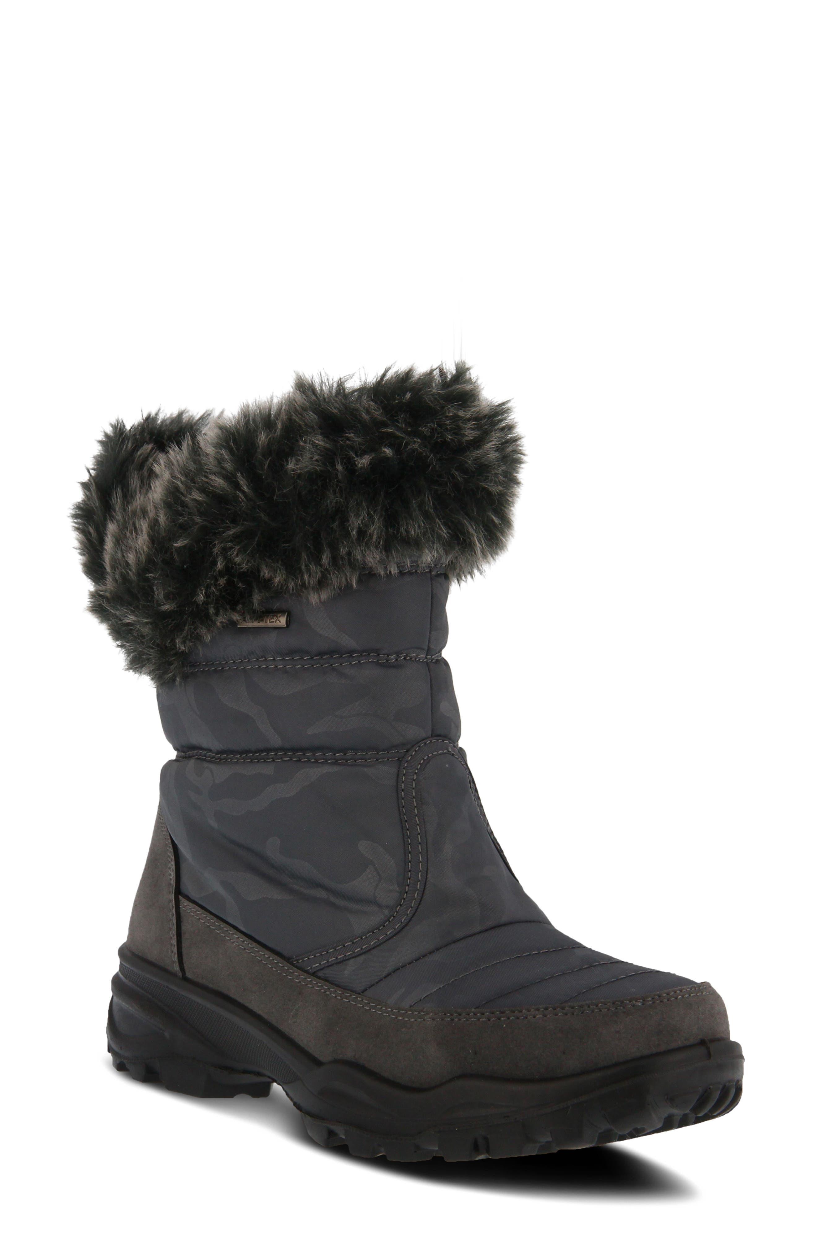 Spring Step Korine Waterproof Faux Fur Bootie - Grey