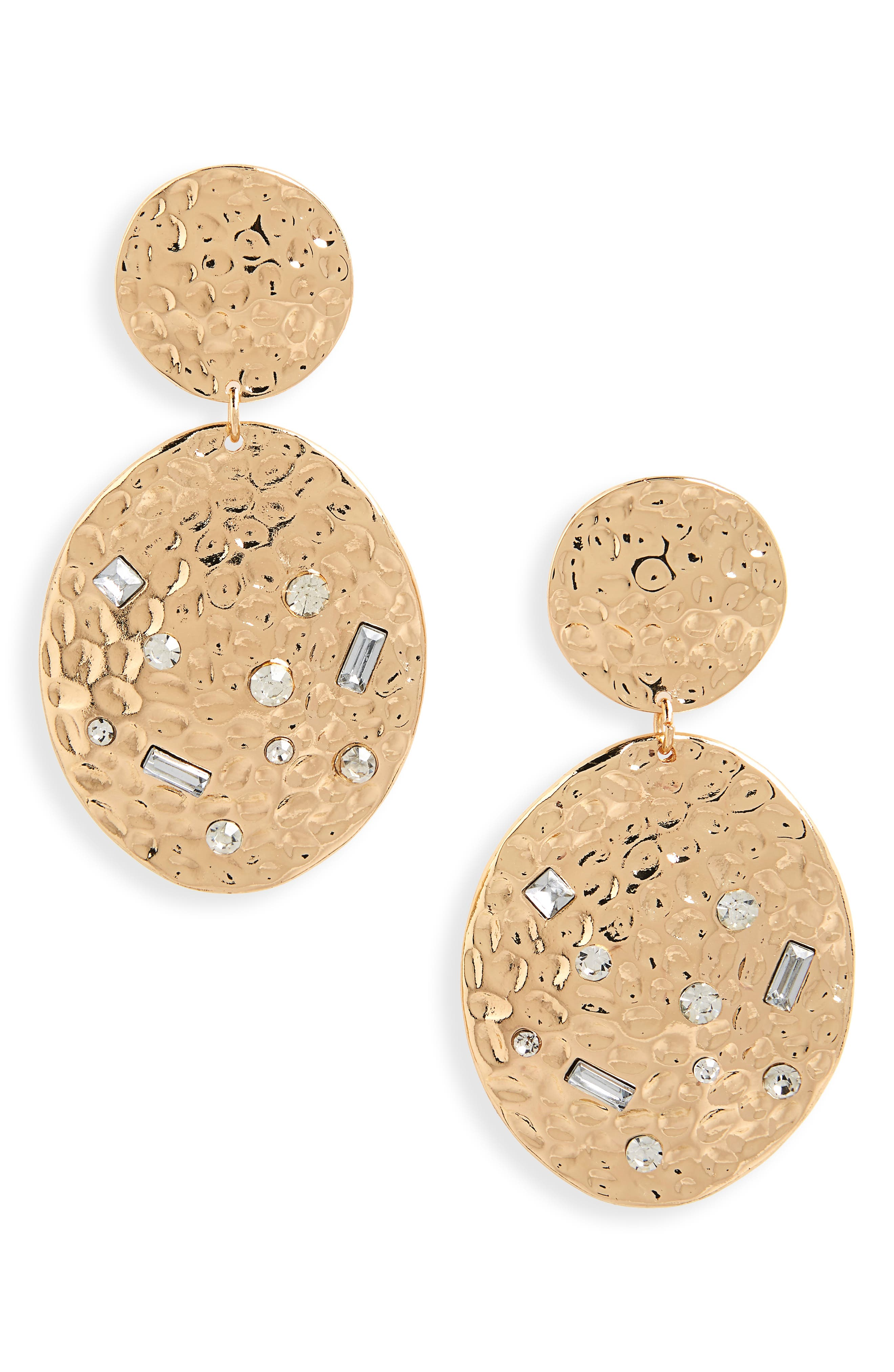 Hammered Metal Statement Earrings,                             Main thumbnail 1, color,                             GOLD/ CRYSTAL