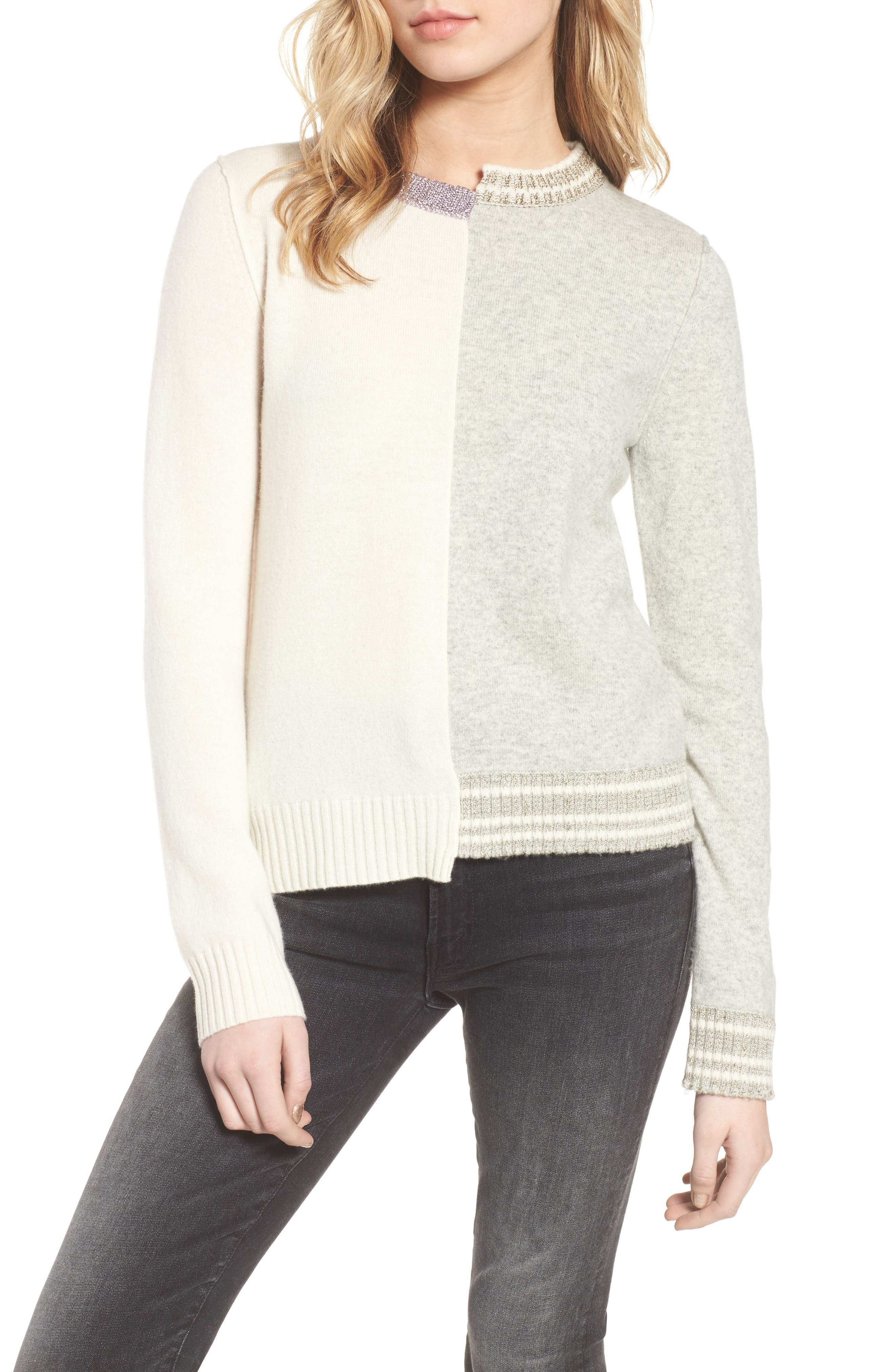 Source Two-Tone Wool & Cashmere Sweater,                         Main,                         color, 060