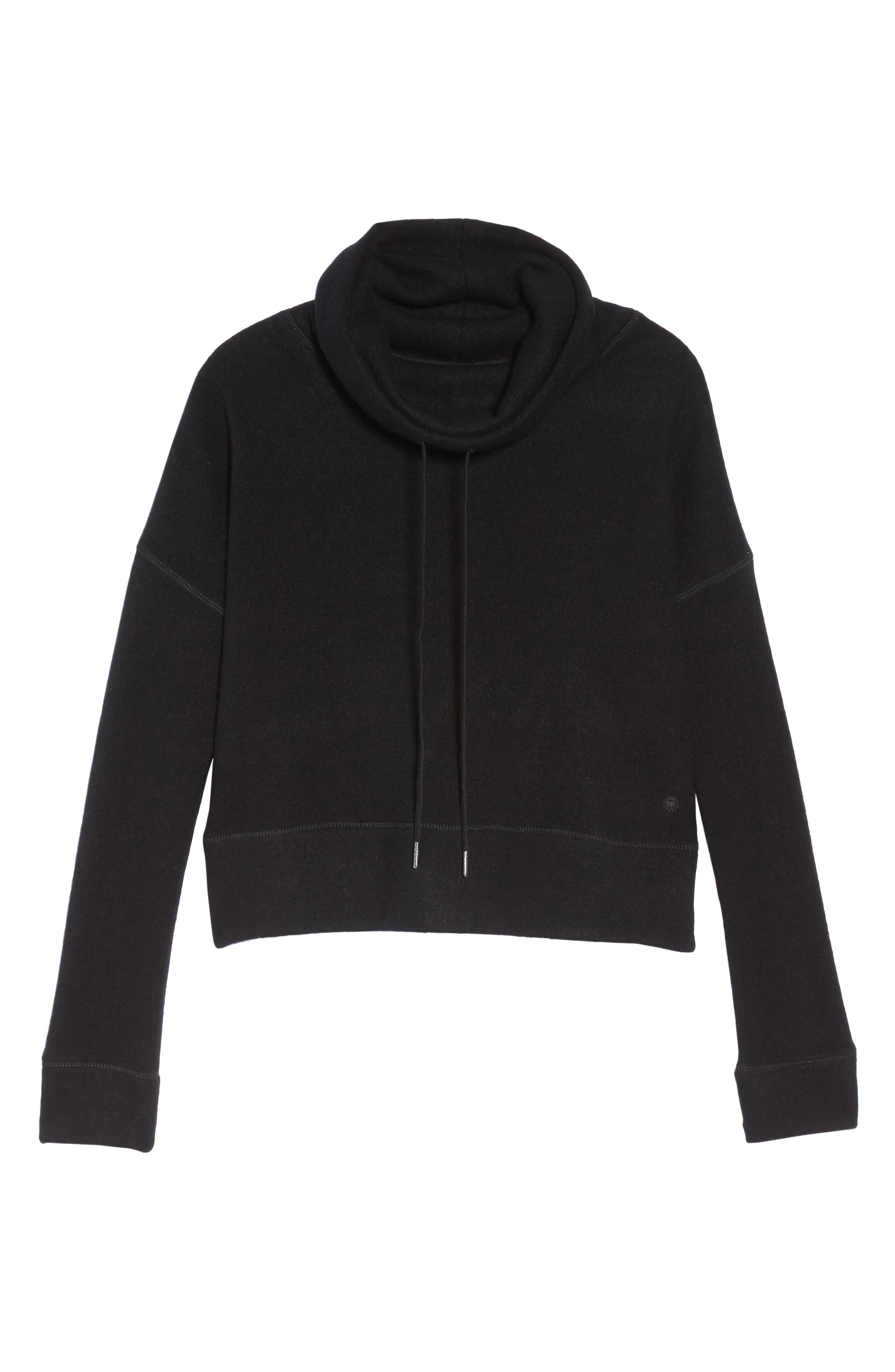 Funnel Neck Crop Merino Wool Sweatshirt,                             Alternate thumbnail 6, color,                             001