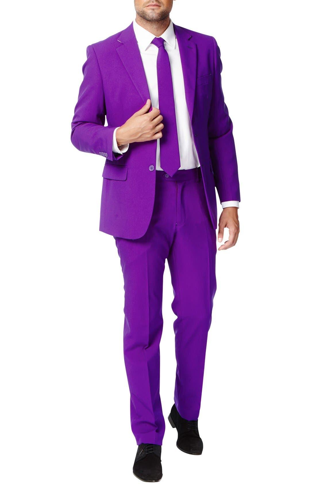 'Purple Prince' Trim Fit Two-Piece Suit with Tie,                             Main thumbnail 1, color,                             500