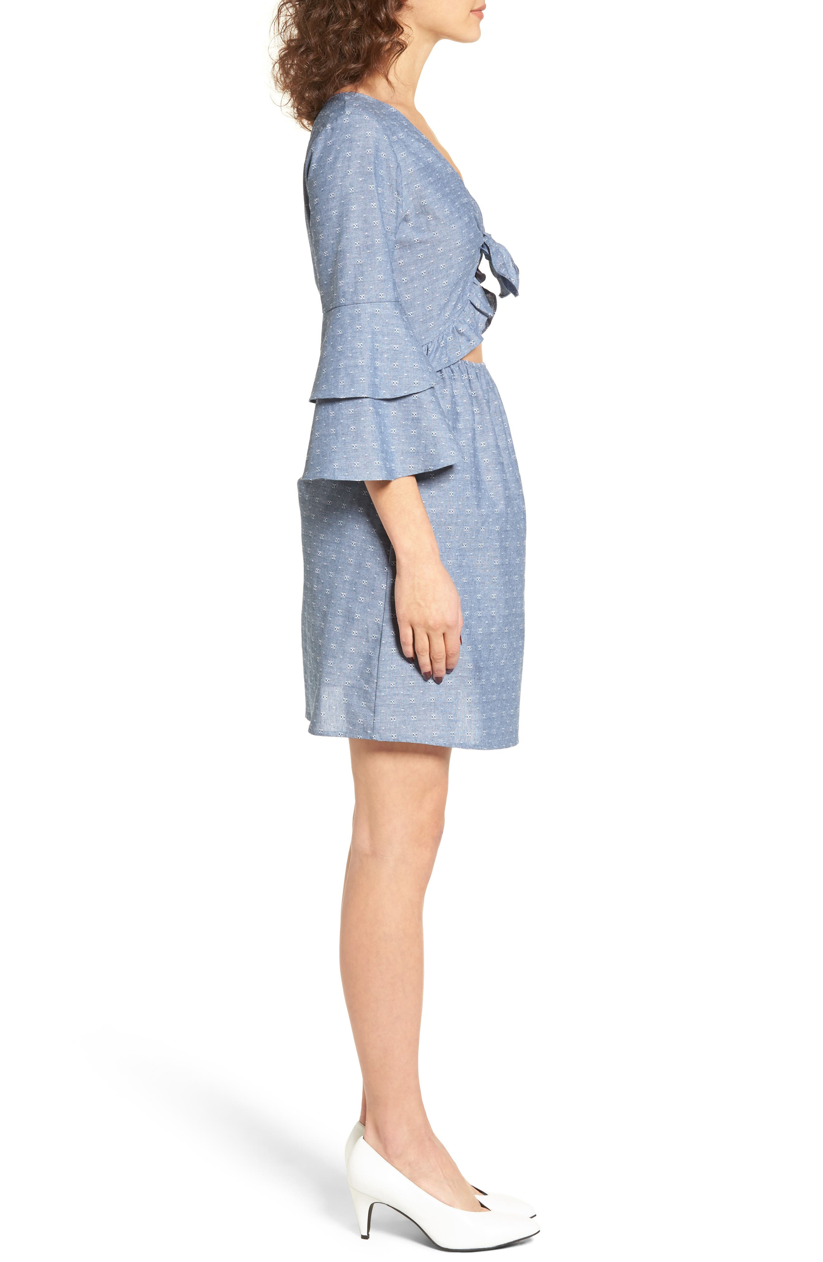 EVERLY,                             Cutout Tiered Sleeve Dress,                             Alternate thumbnail 3, color,                             400