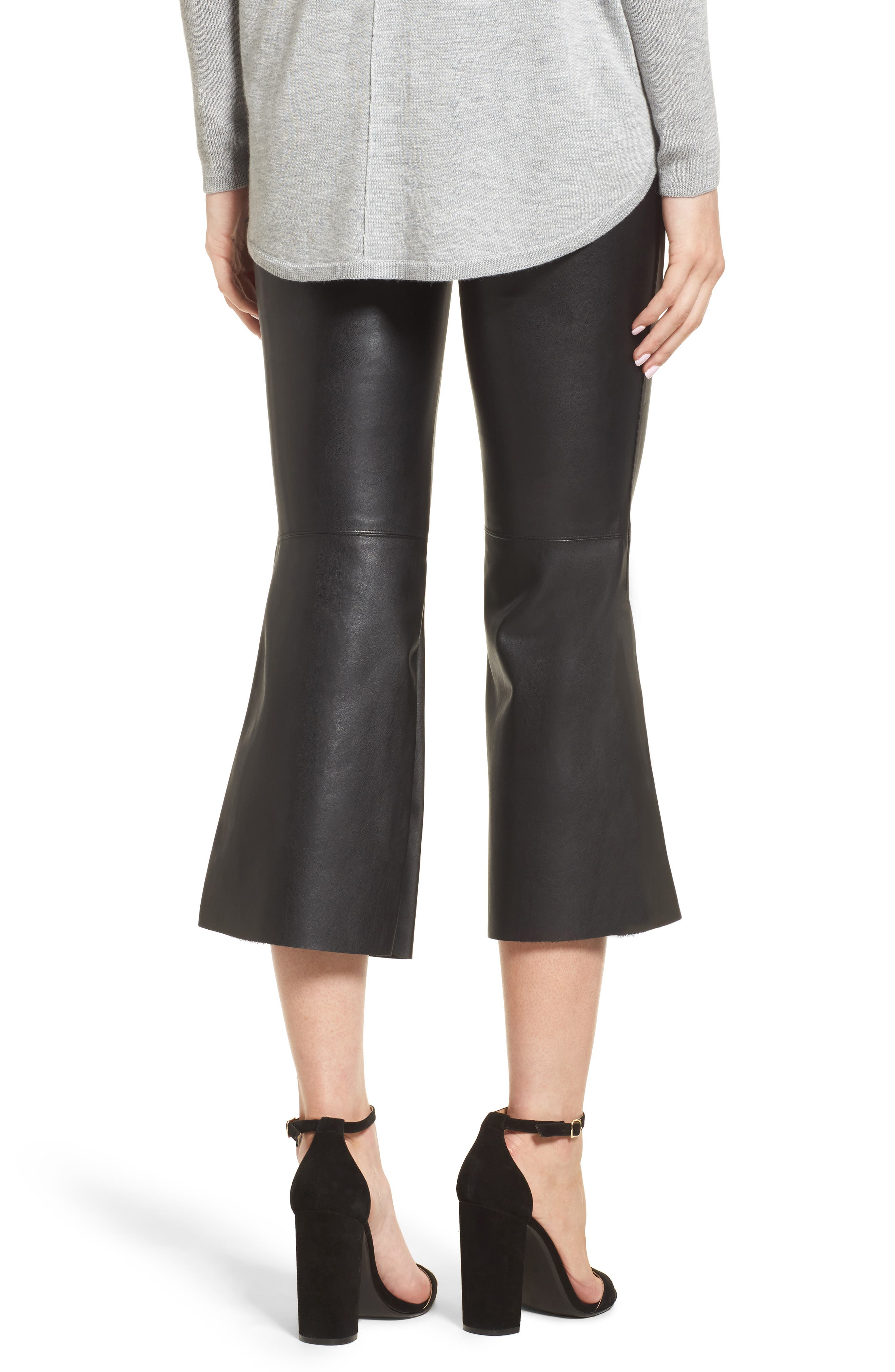 Lupine Crop Flare Faux Leather Pants,                             Alternate thumbnail 2, color,                             001