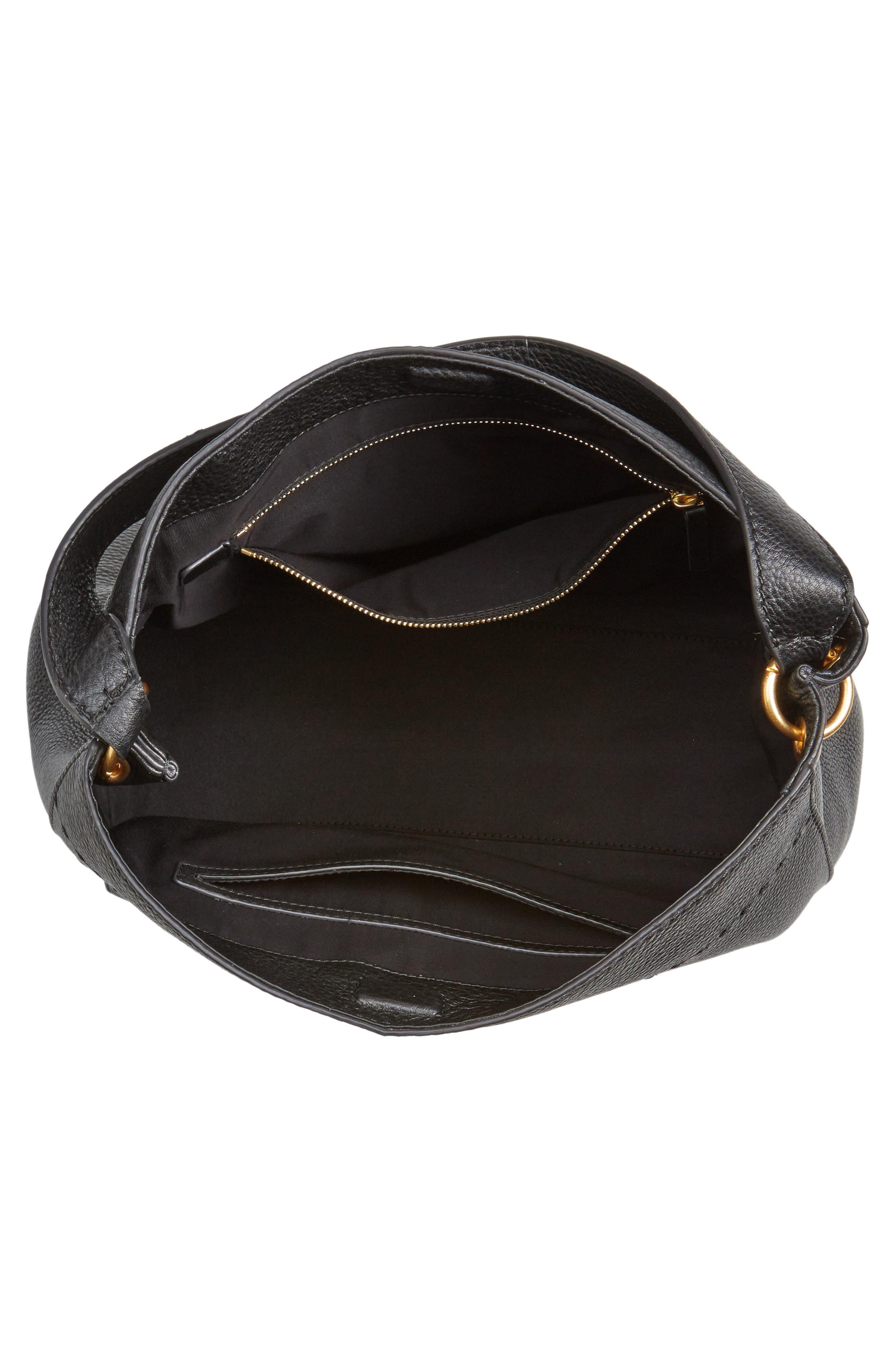McGraw Leather Hobo,                             Alternate thumbnail 4, color,                             BLACK