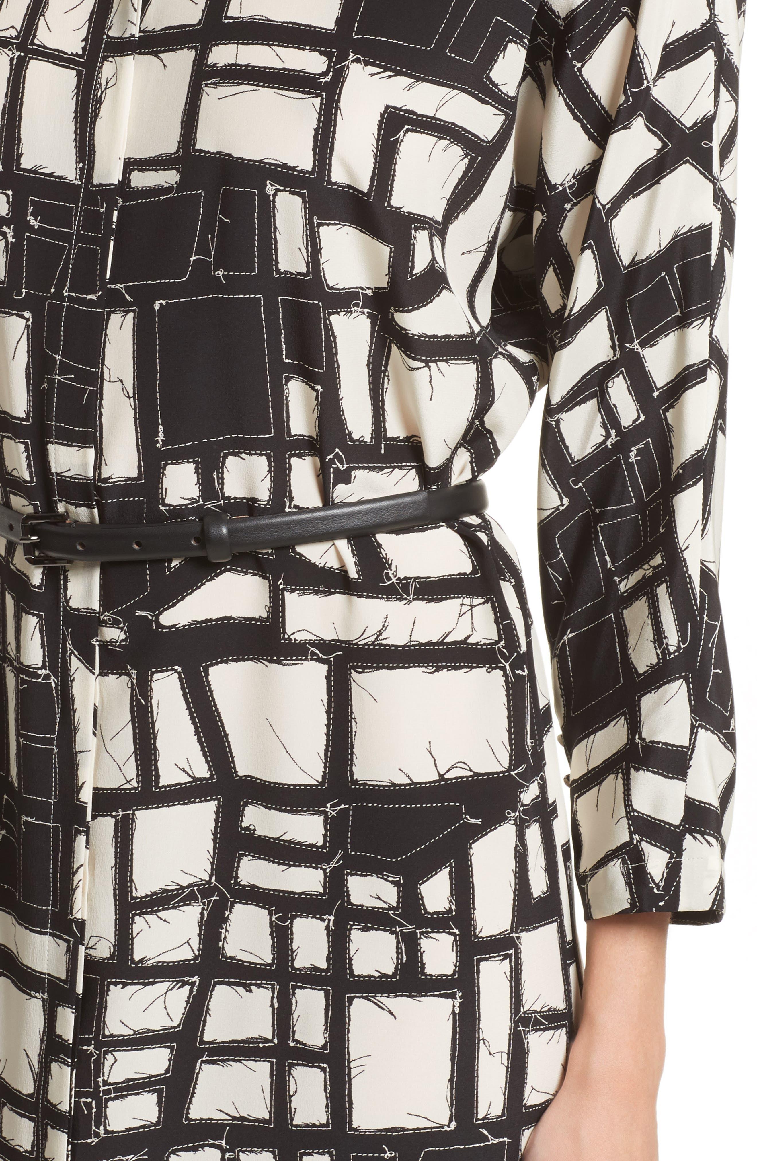 Aligi Print Silk Dress,                             Alternate thumbnail 4, color,