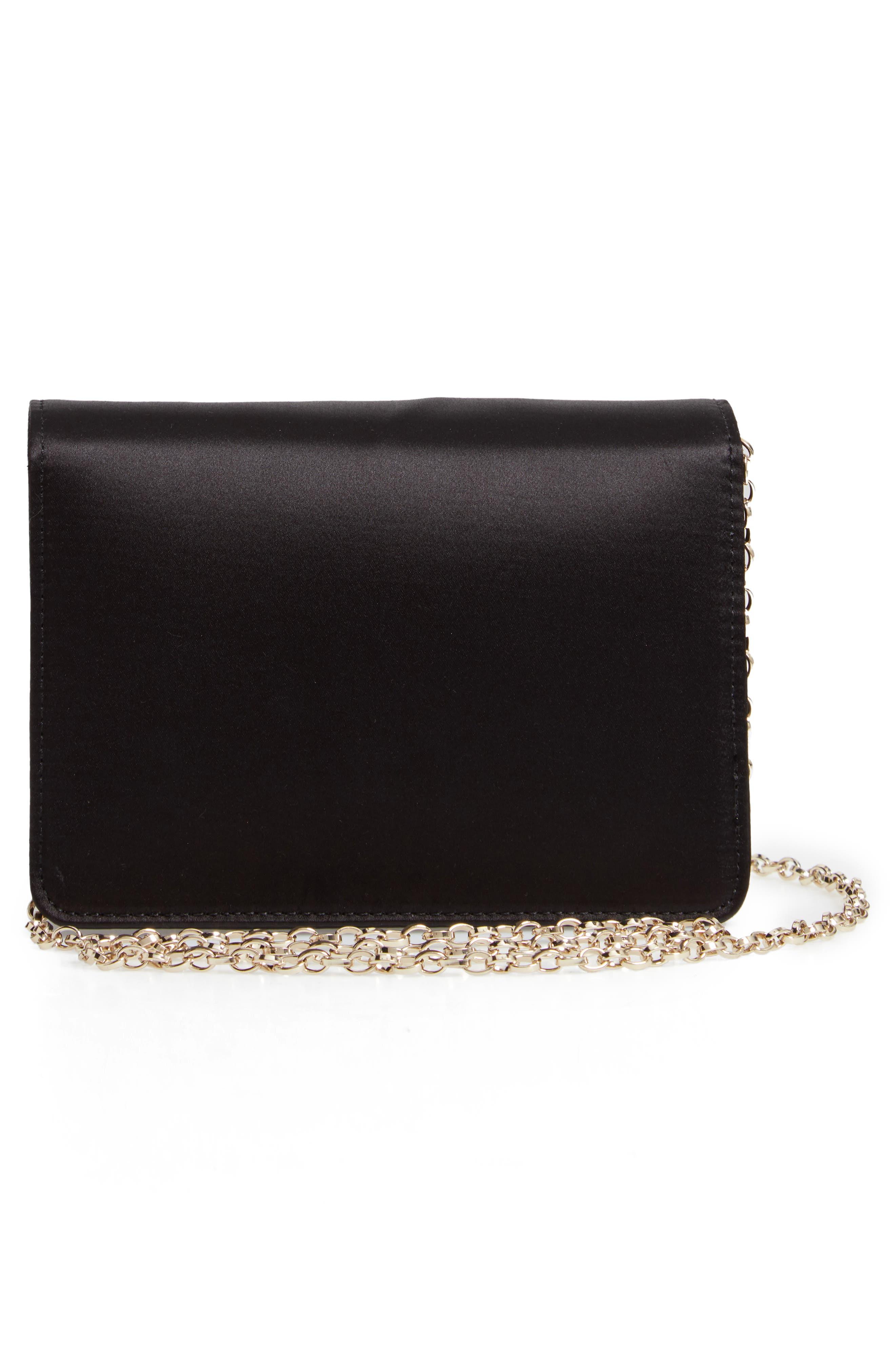 Eveelyn Bow Satin Evening Bag,                             Alternate thumbnail 3, color,                             BLACK