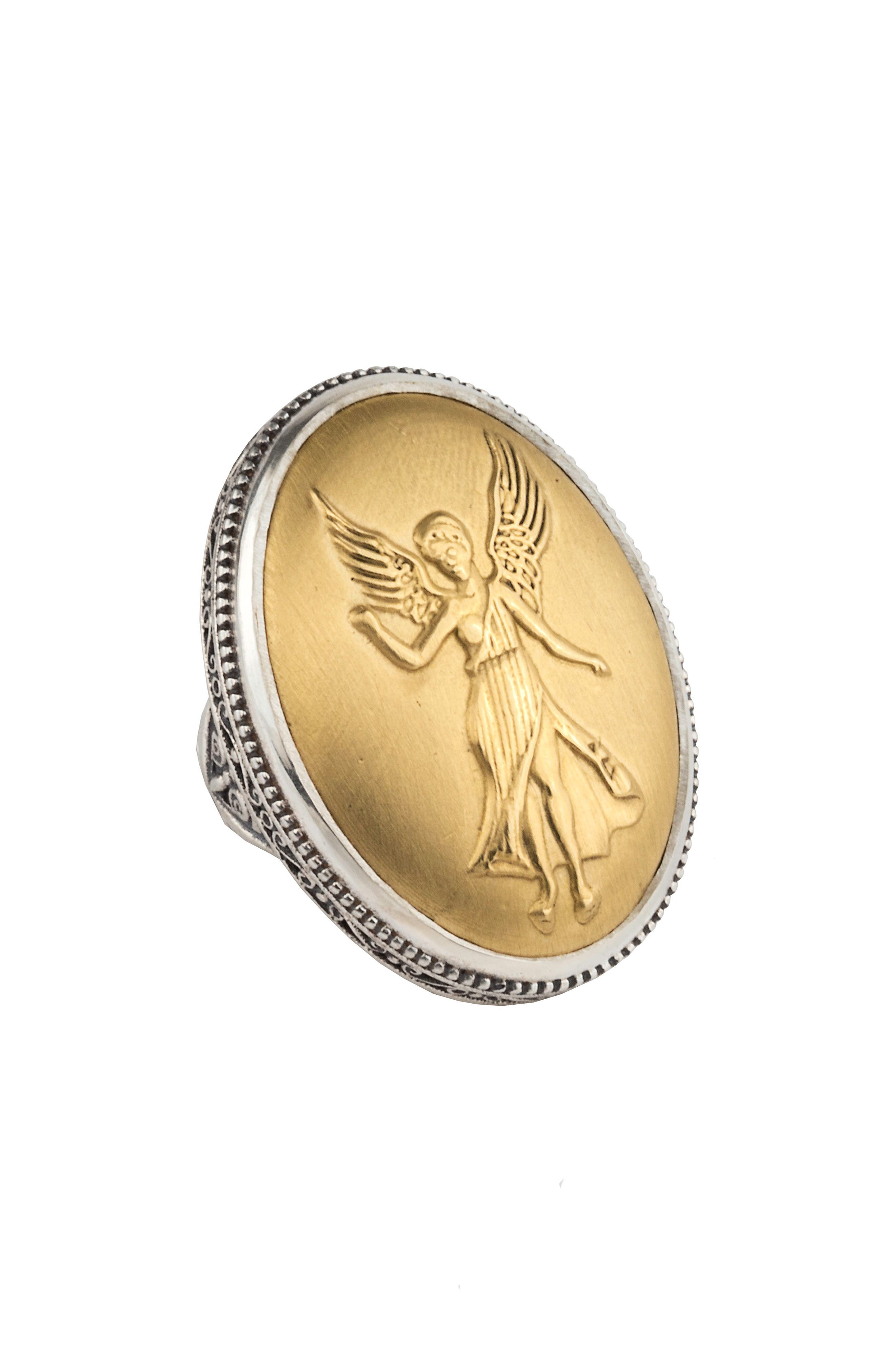 Gaia Nike Ring,                             Main thumbnail 1, color,                             SILVER/ GOLD