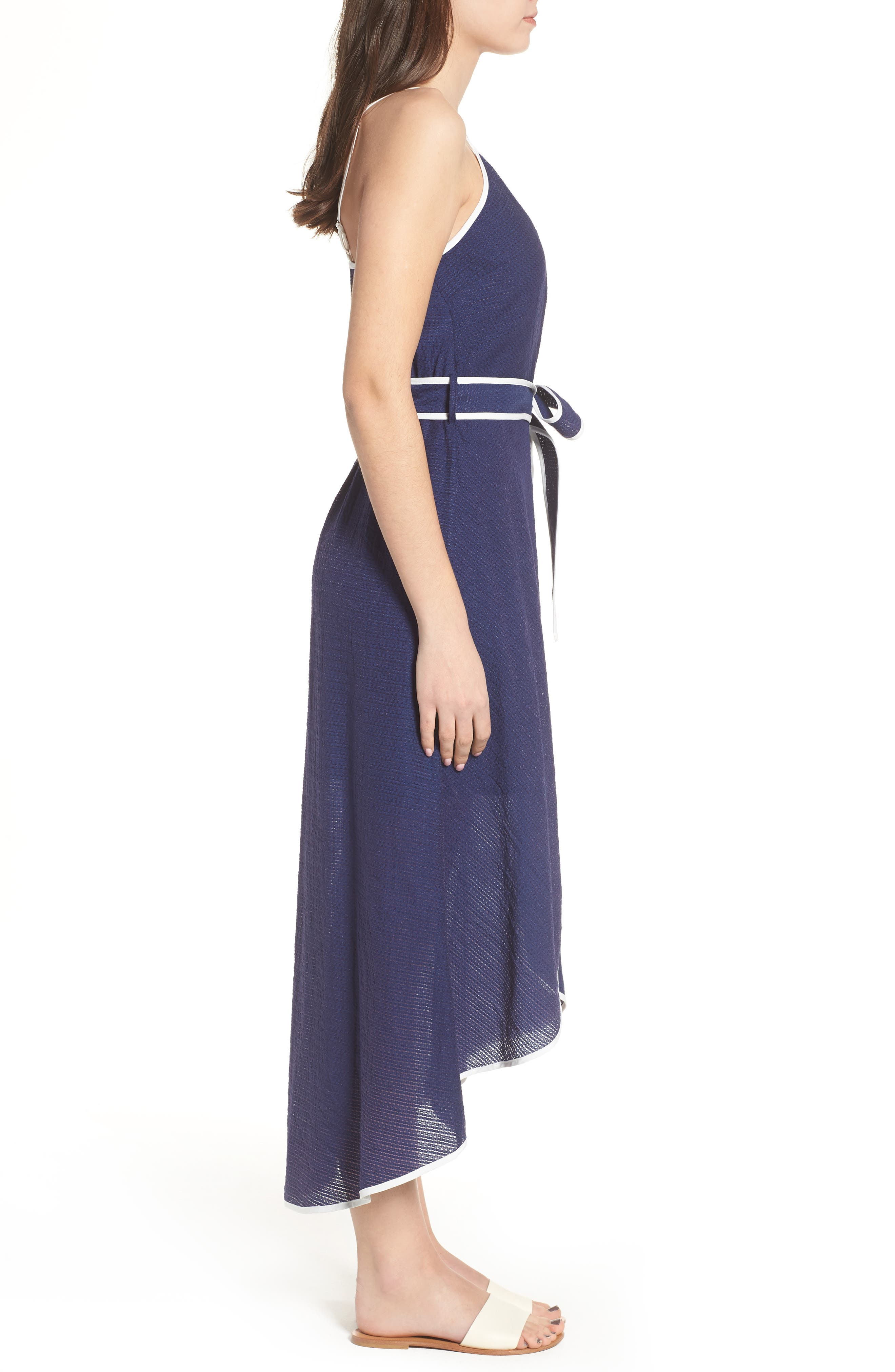 Midi Wrap Style Dress,                             Alternate thumbnail 3, color,