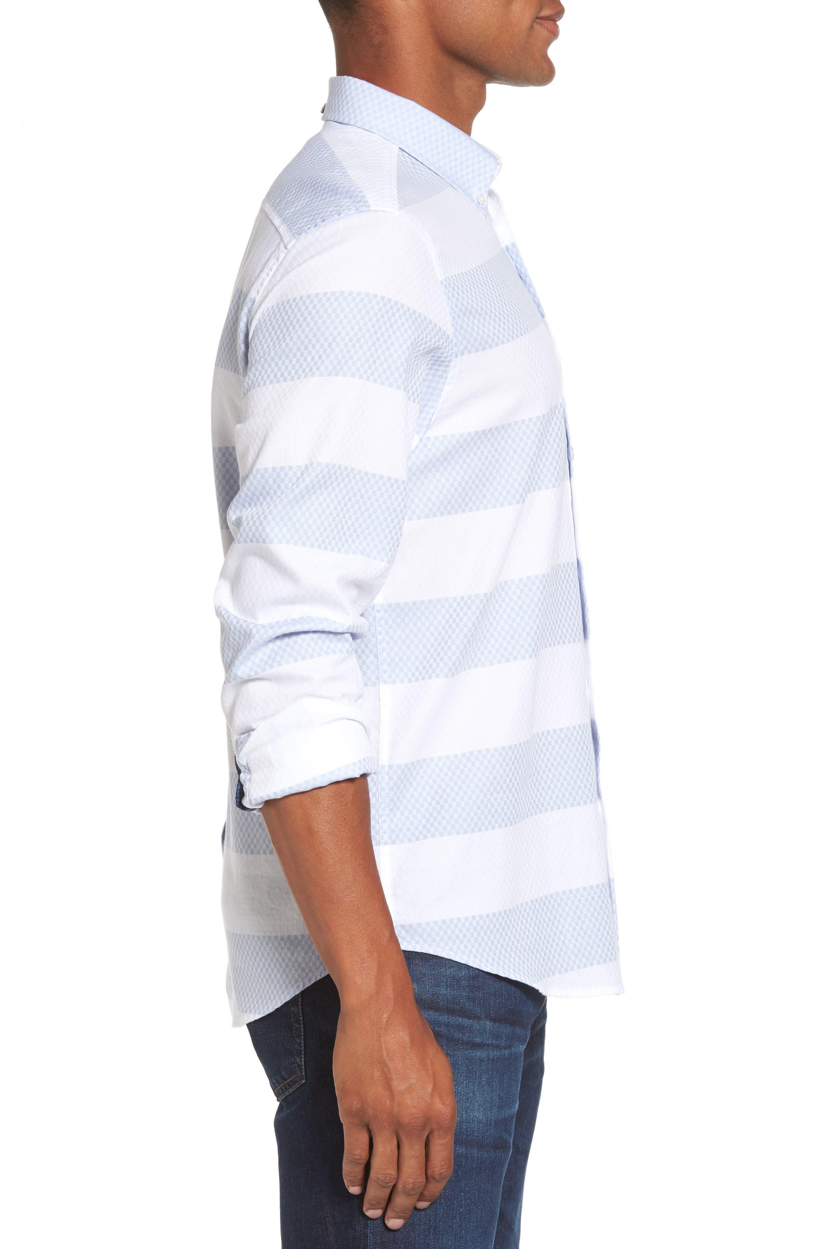 Dobby Gingham Stripes Shirt,                             Alternate thumbnail 3, color,
