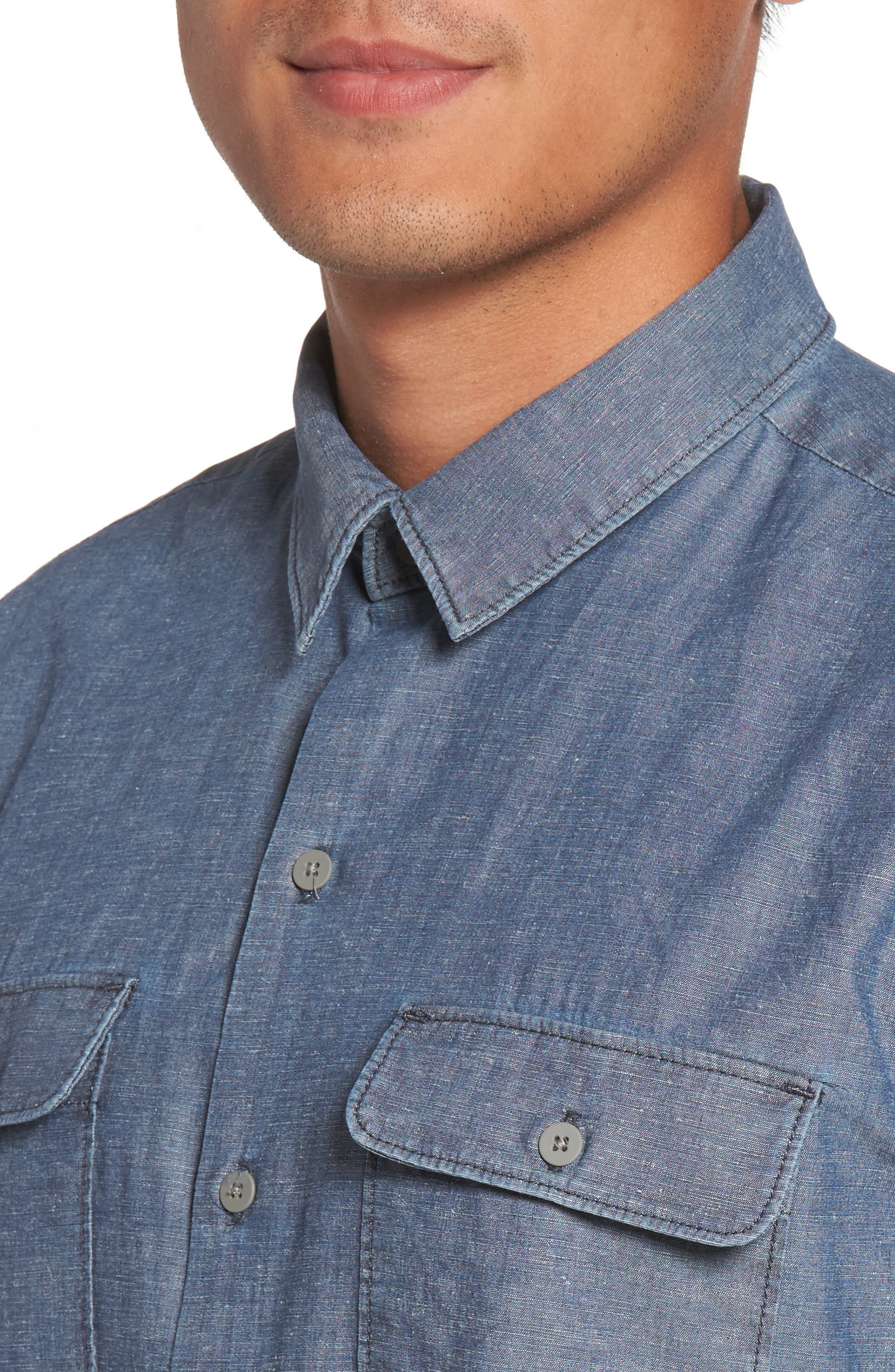 Flynn Lightweight Denim Shirt,                             Alternate thumbnail 4, color,