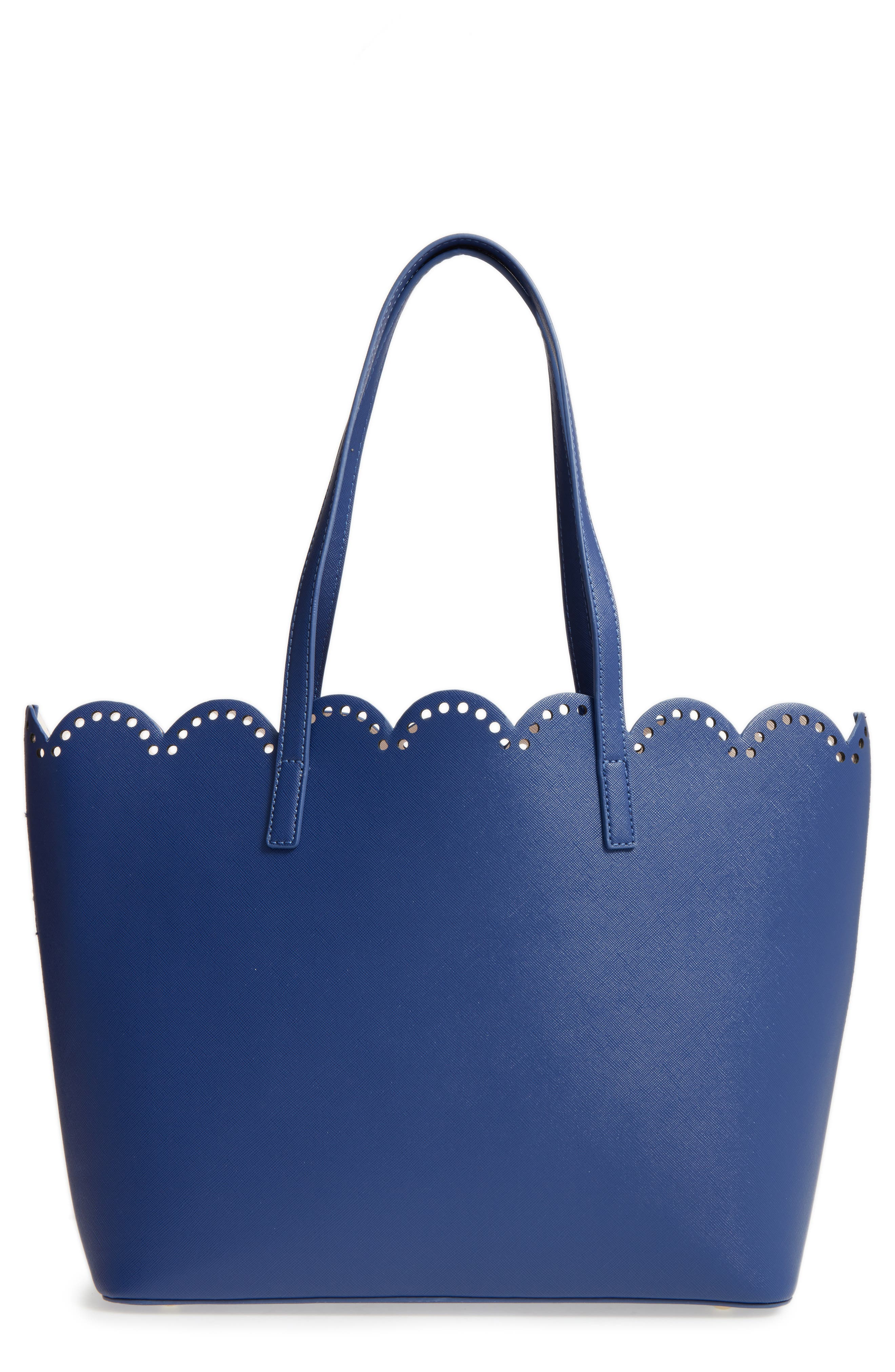 Scalloped Faux Leather Tote,                             Main thumbnail 6, color,