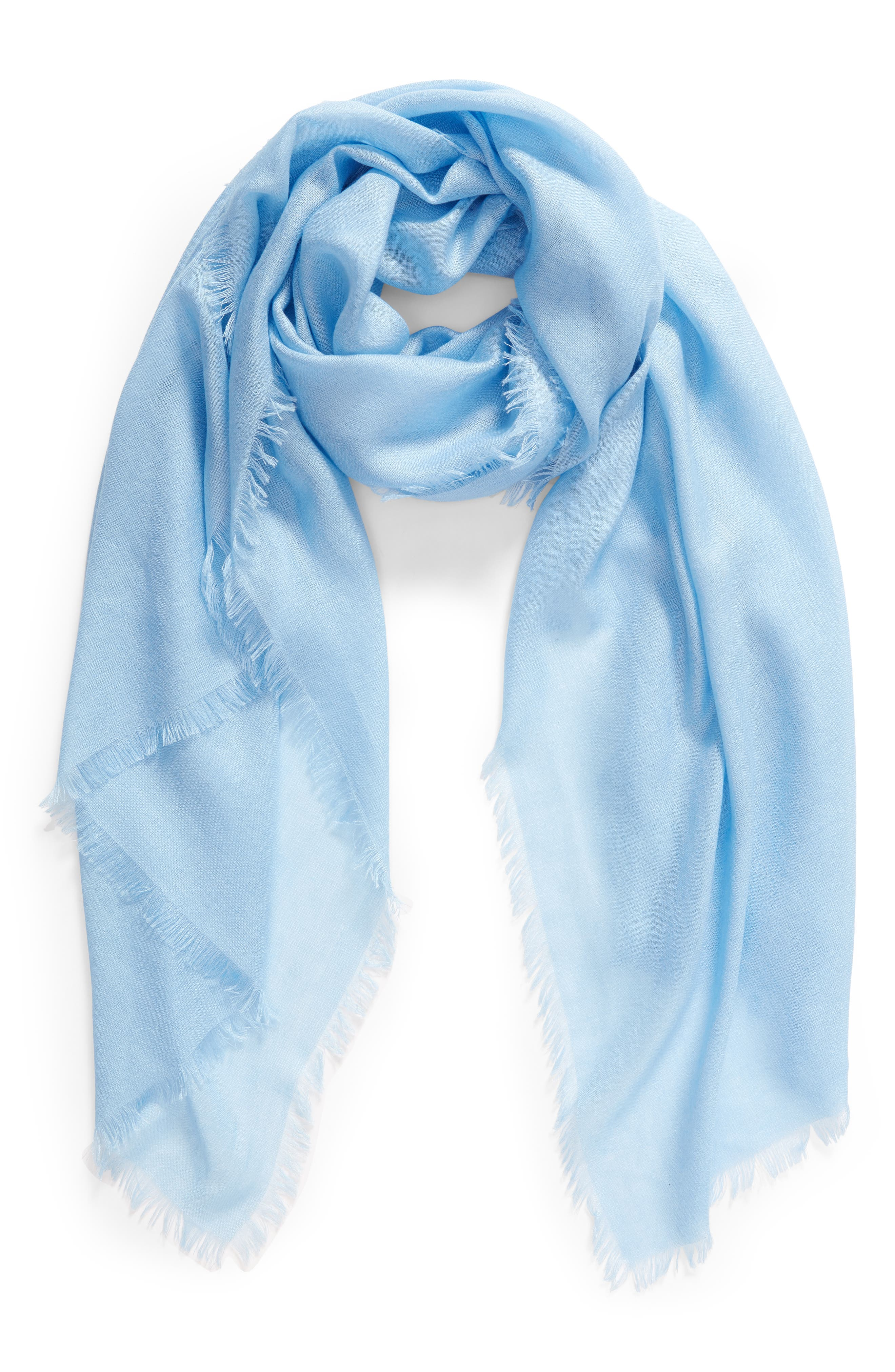 Cashmere & Silk Wrap,                             Alternate thumbnail 2, color,                             BLUE PLACID