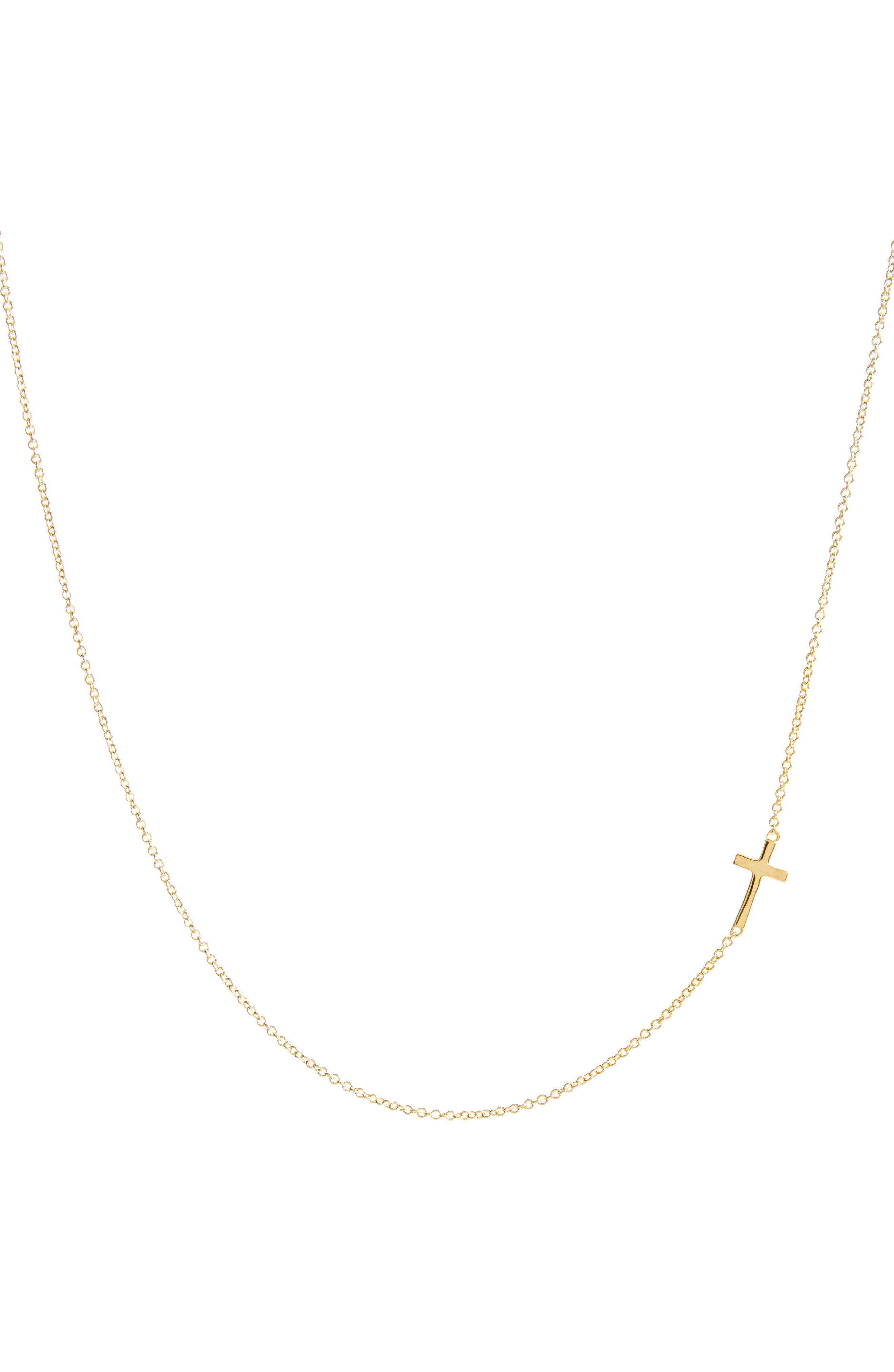 Cross Station Necklace,                             Main thumbnail 1, color,                             YELLOW GOLD