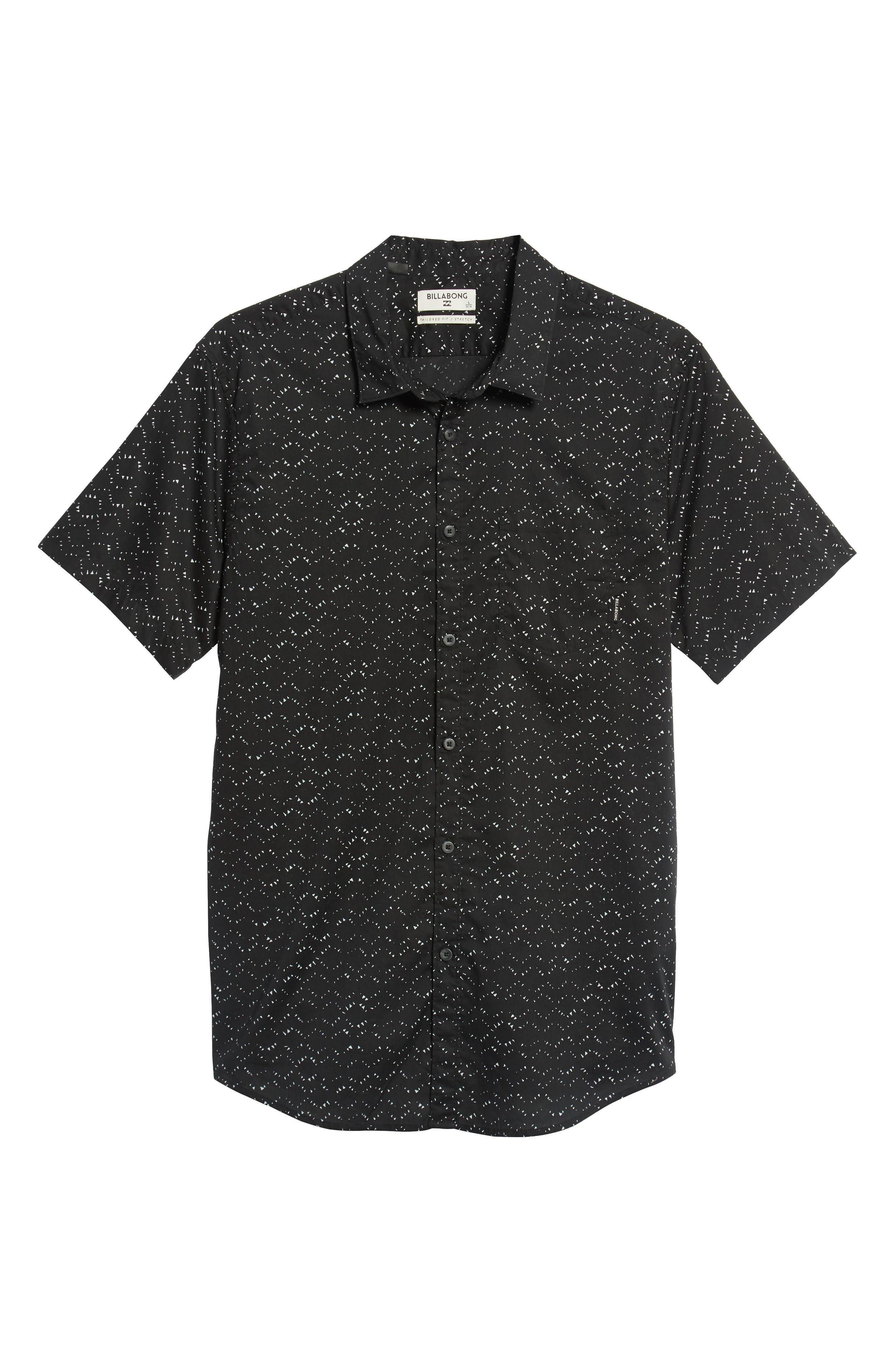 Sundays Print Camp Shirt,                             Alternate thumbnail 5, color,                             BLACK