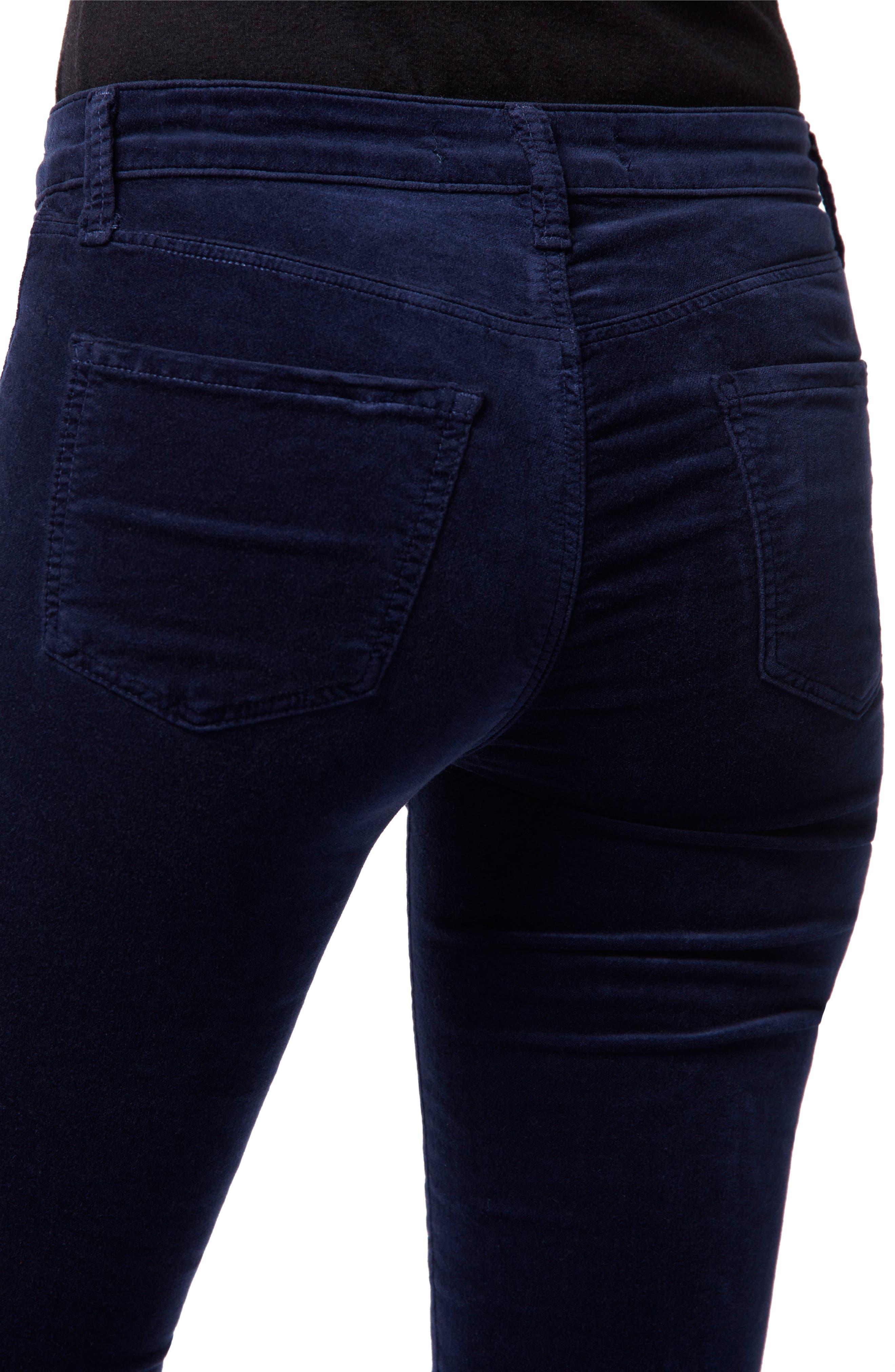 Maria High Waist Velvet Skinny Jeans,                             Alternate thumbnail 4, color,                             NIGHT OUT