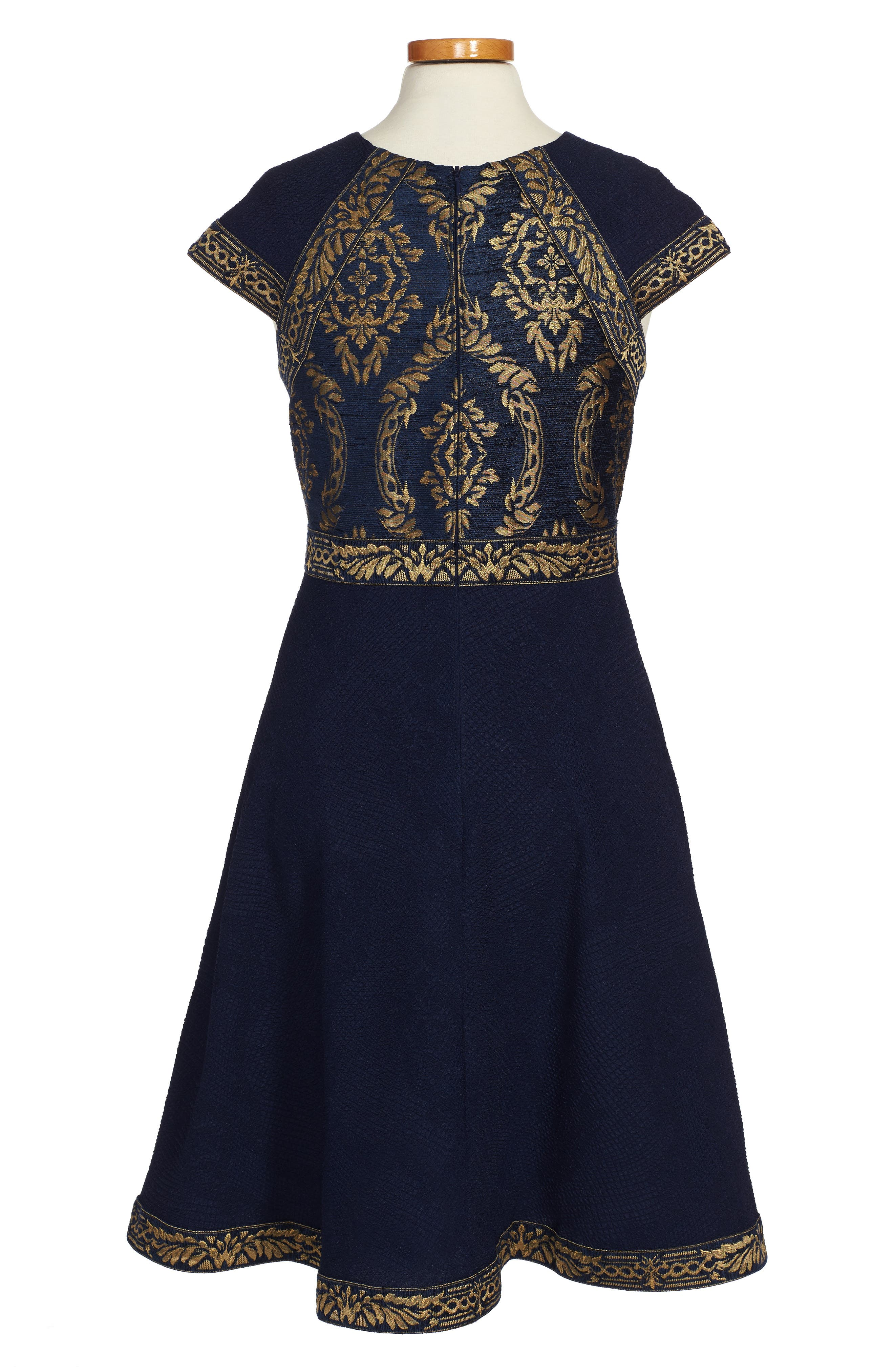 TADASHI SHOJI,                             Brocade Embroidery Party Dress,                             Alternate thumbnail 2, color,                             400