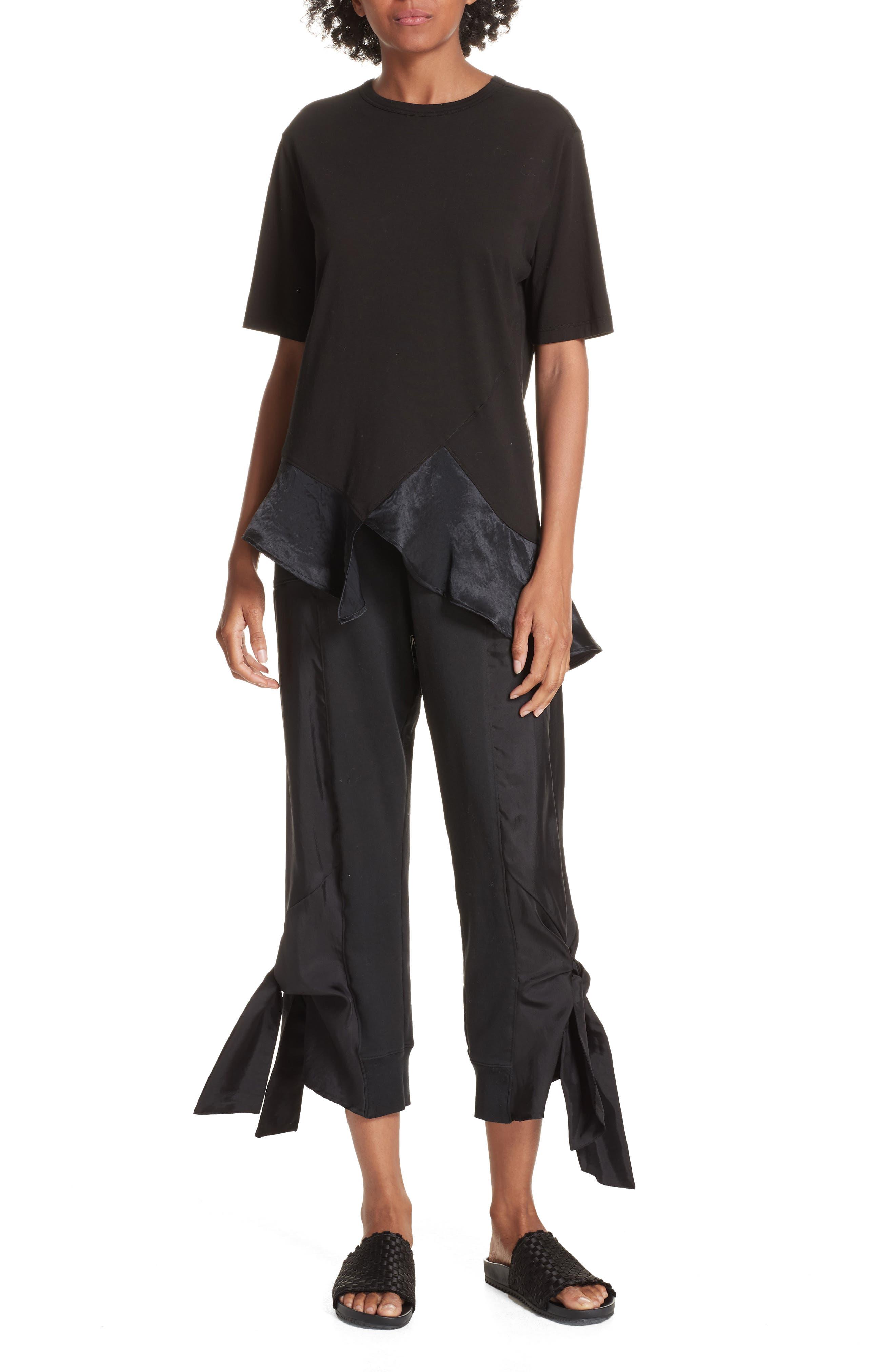 Side Tie Jogger Pants,                             Alternate thumbnail 8, color,                             BLACK