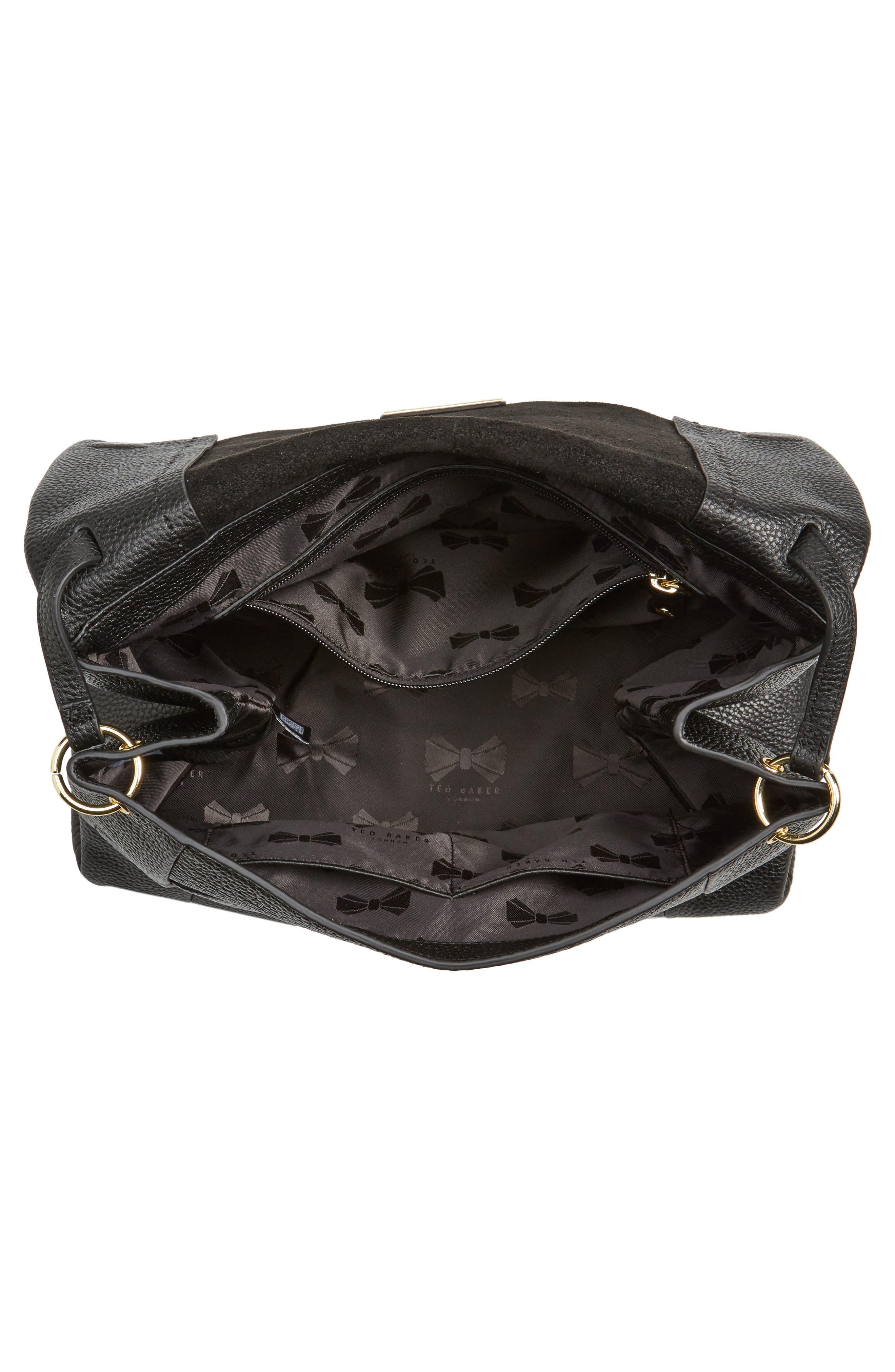 Proter Leather Shoulder Bag,                             Alternate thumbnail 4, color,                             001