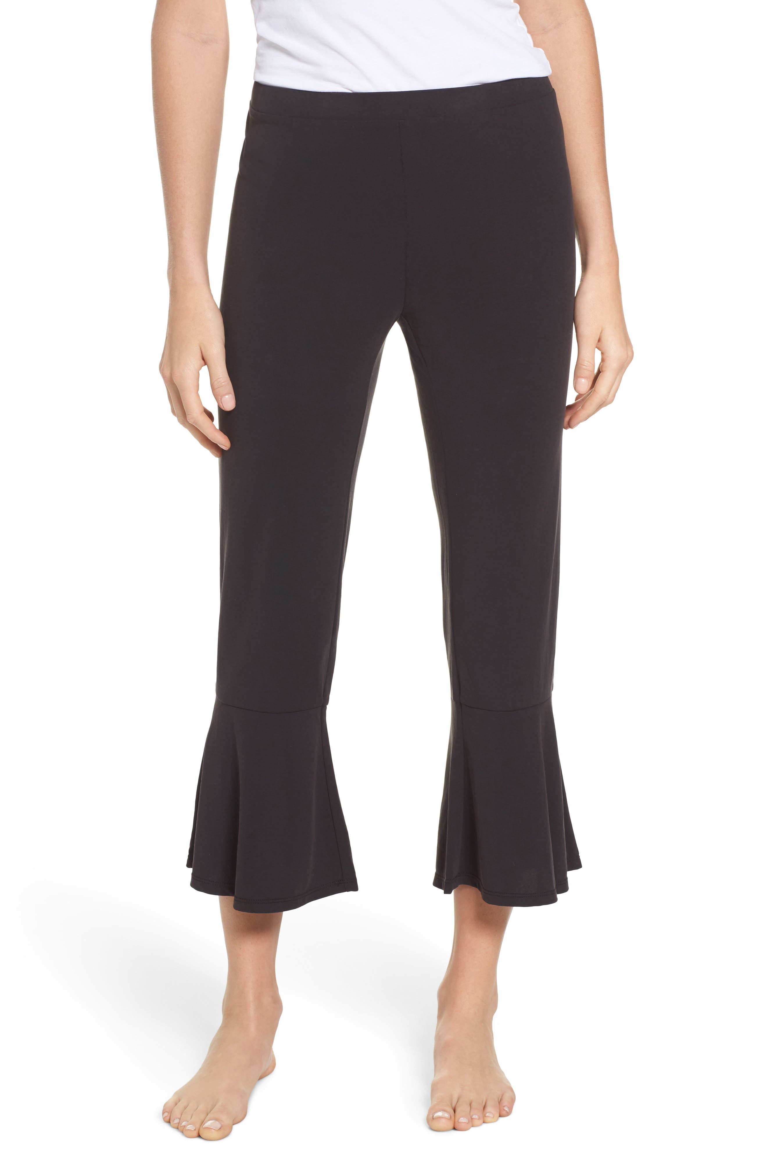 Aden Ruffle Hem Lounge Pants,                         Main,                         color, BLACK
