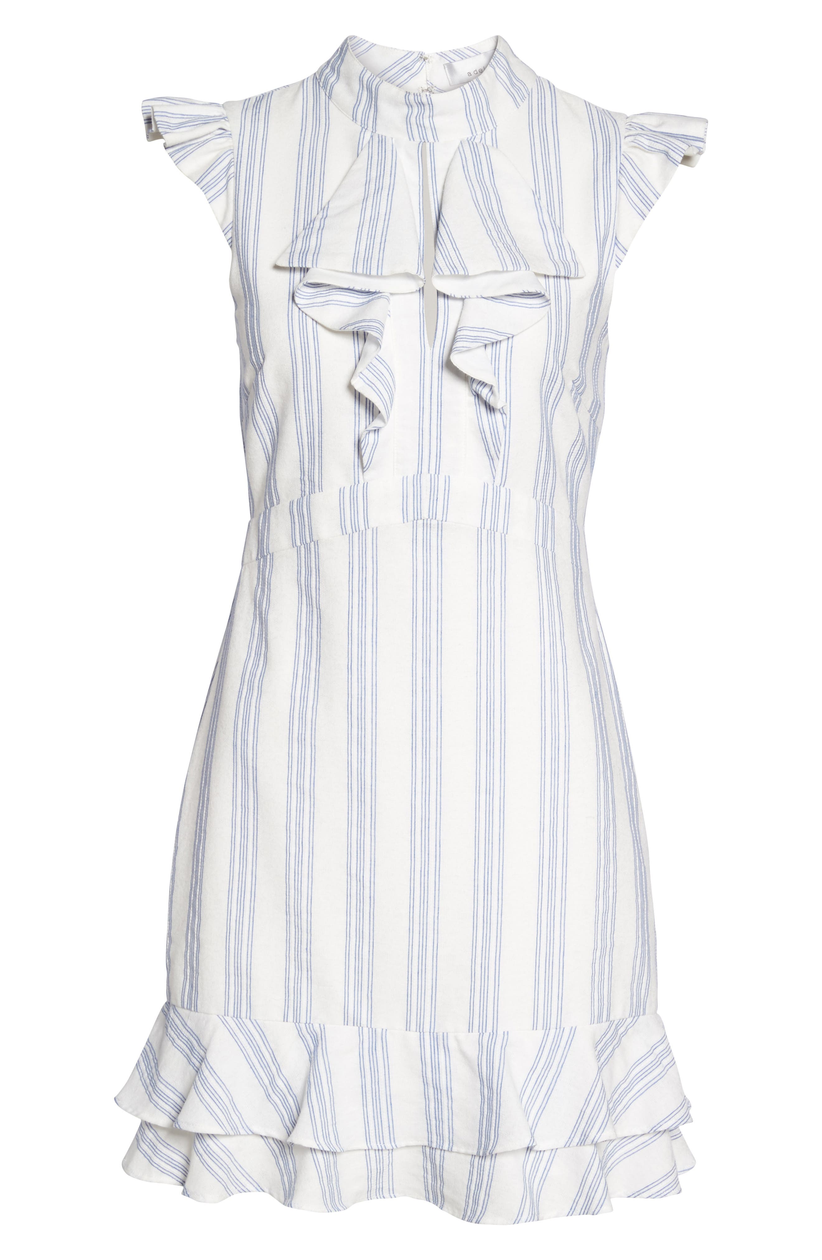Stripe Ruffle Sheath Dress,                             Alternate thumbnail 6, color,                             100
