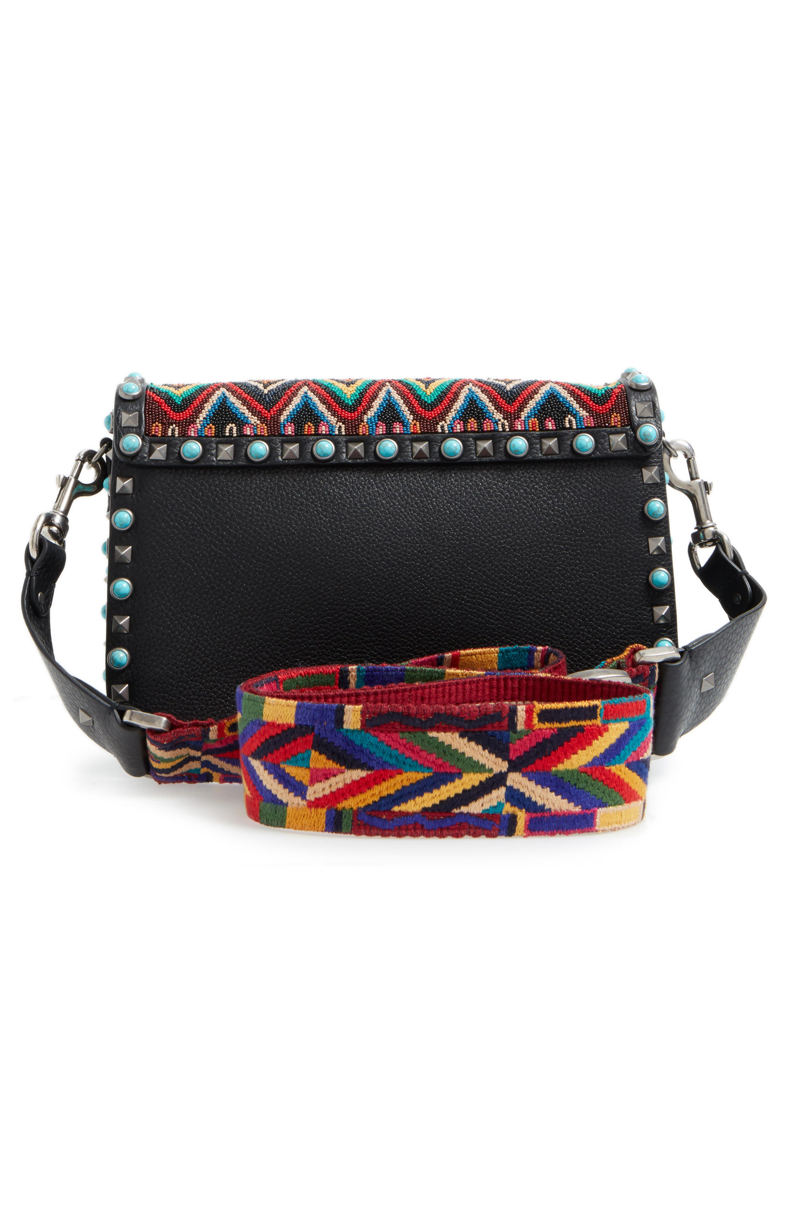 Valentino Rockstud Rolling Beaded Shoulder Bag with Embroidered Guitar Strap,                             Alternate thumbnail 4, color,                             001
