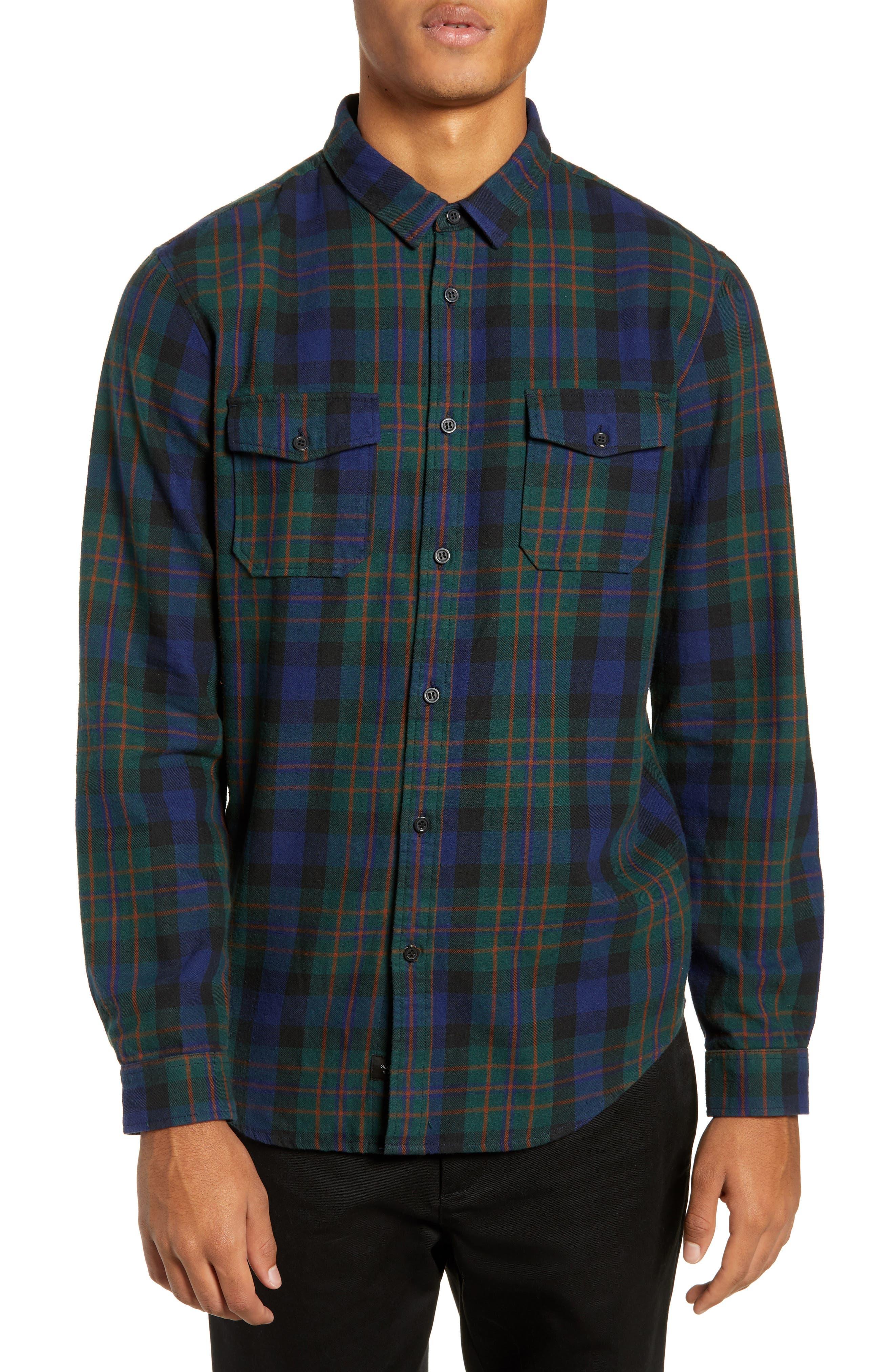 Flanigan Woven Shirt,                         Main,                         color, BOTTLE GREEN