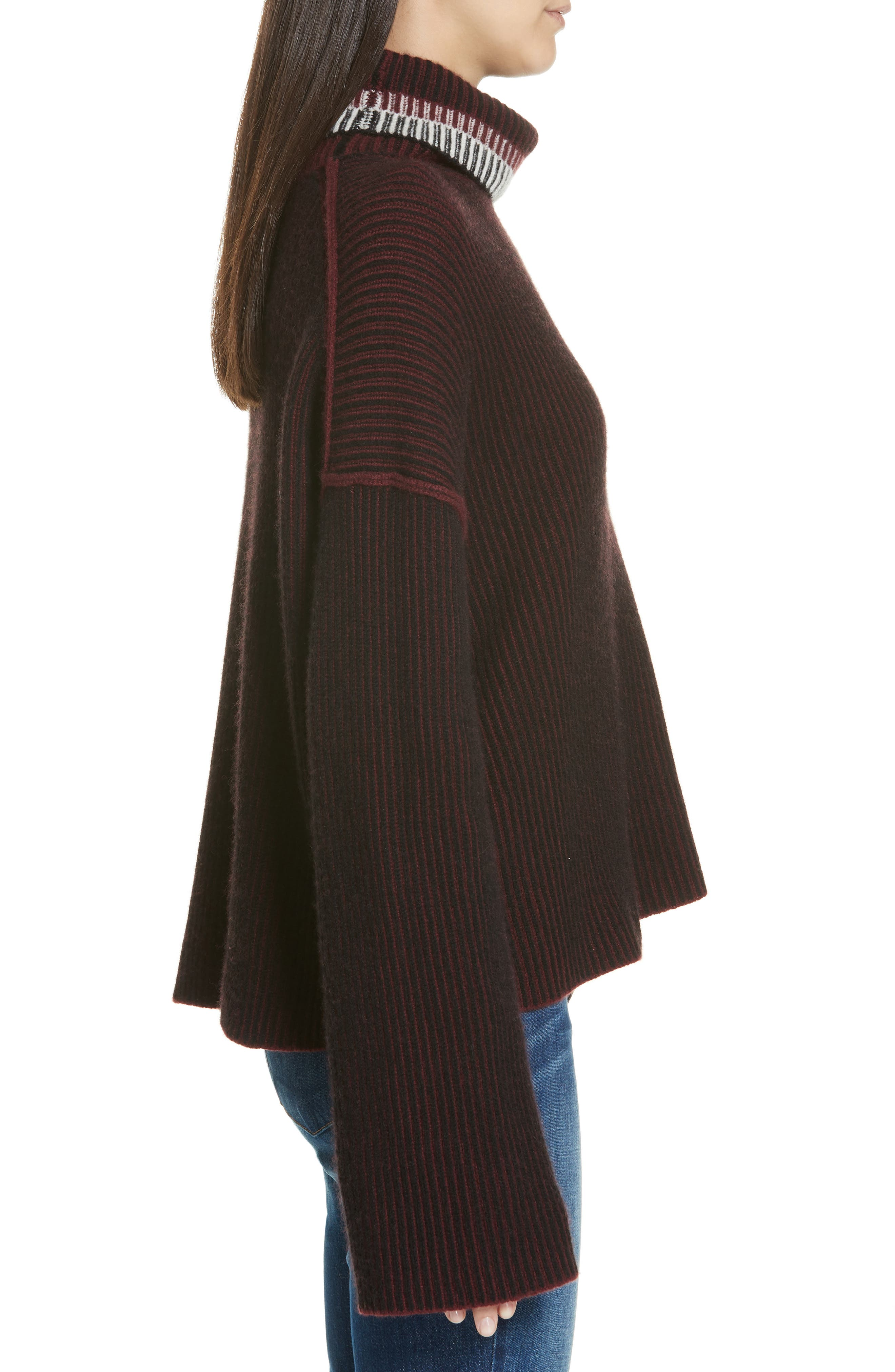 Oversize Cashmere Turtleneck Sweater,                             Alternate thumbnail 3, color,                             DARK CURRANT MIX