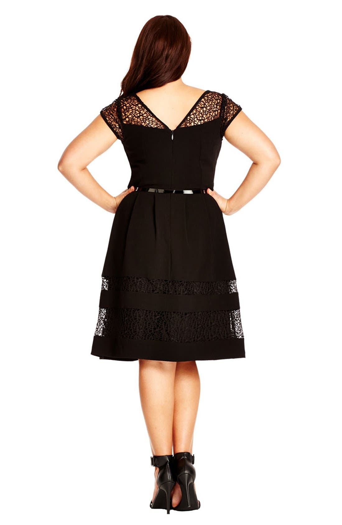Fit & Flare Dress with Delicate Lace Insets,                             Alternate thumbnail 2, color,                             001