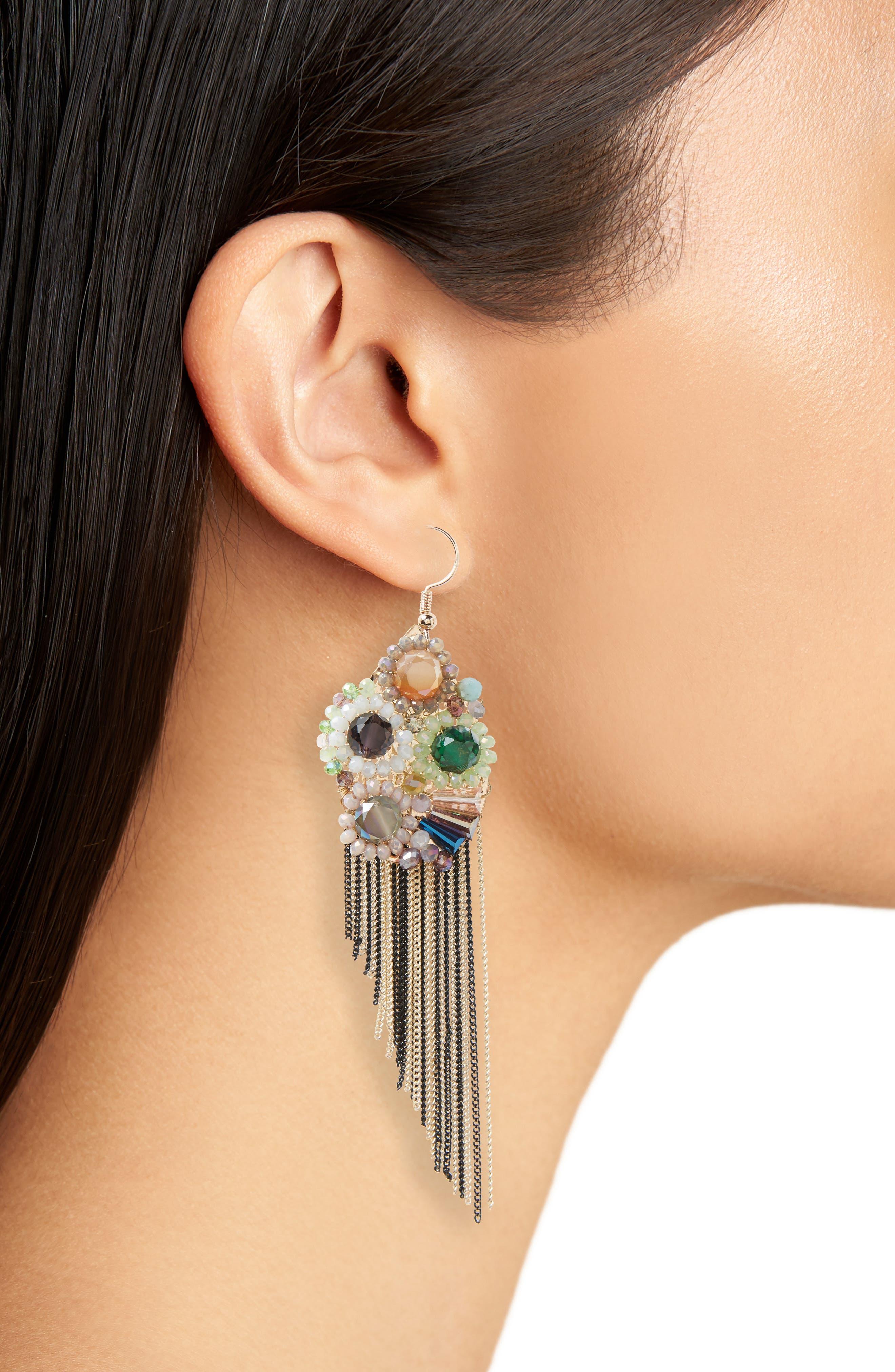 Goddess Fringe Earrings,                             Alternate thumbnail 2, color,                             MULTI