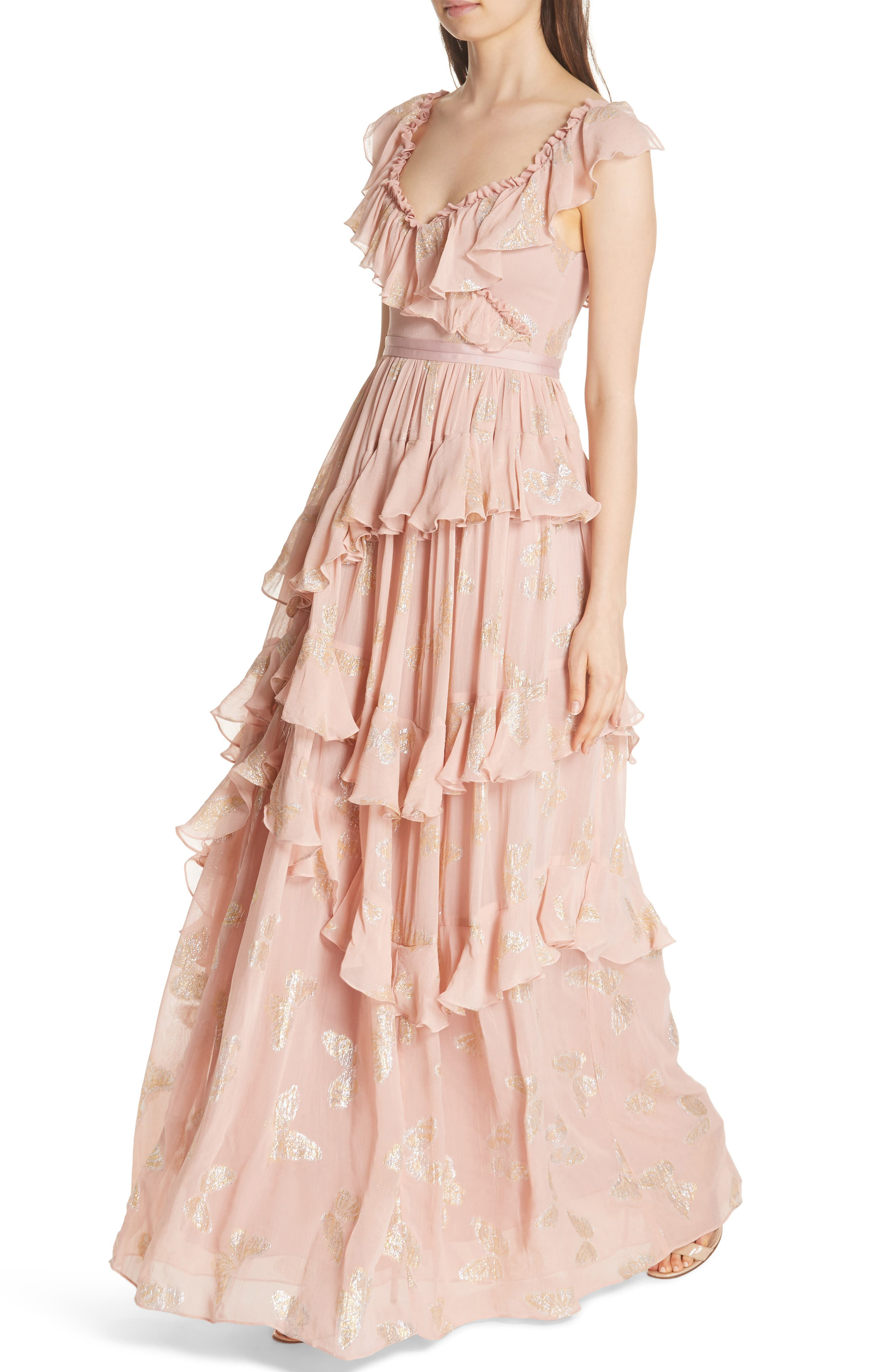 Ruffled Lurex<sup>®</sup> Butterfly Gown,                             Alternate thumbnail 4, color,                             VINTAGE ROSE